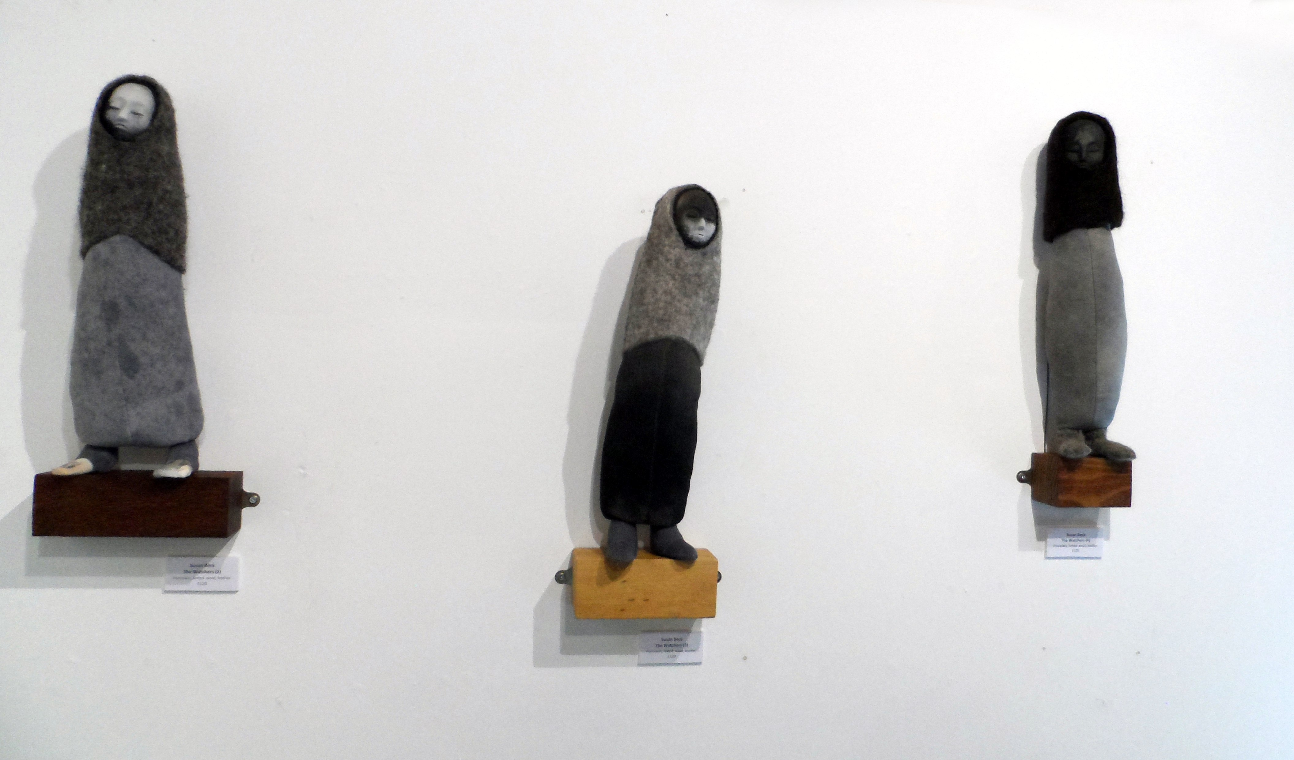 THE WATCHERS 1,2,3 by Susan Beck, porcelain, felted wool, leather, Re-View Textile Group, Frodsham 2019