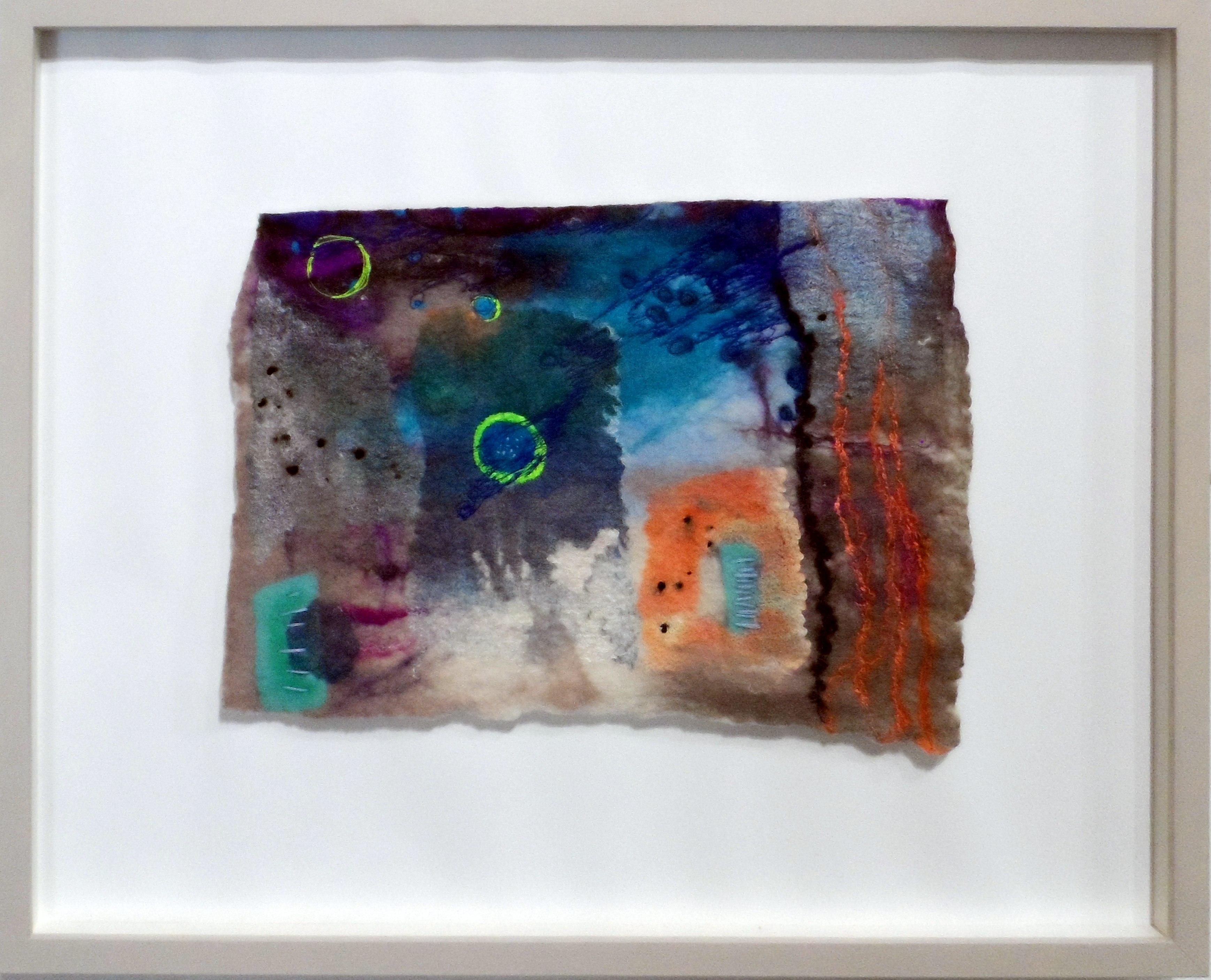 DRIZZLE by Catherine Carmyllie, felted wool, silks, dyed & painted, re-View Textile Group, Frodsham 2019