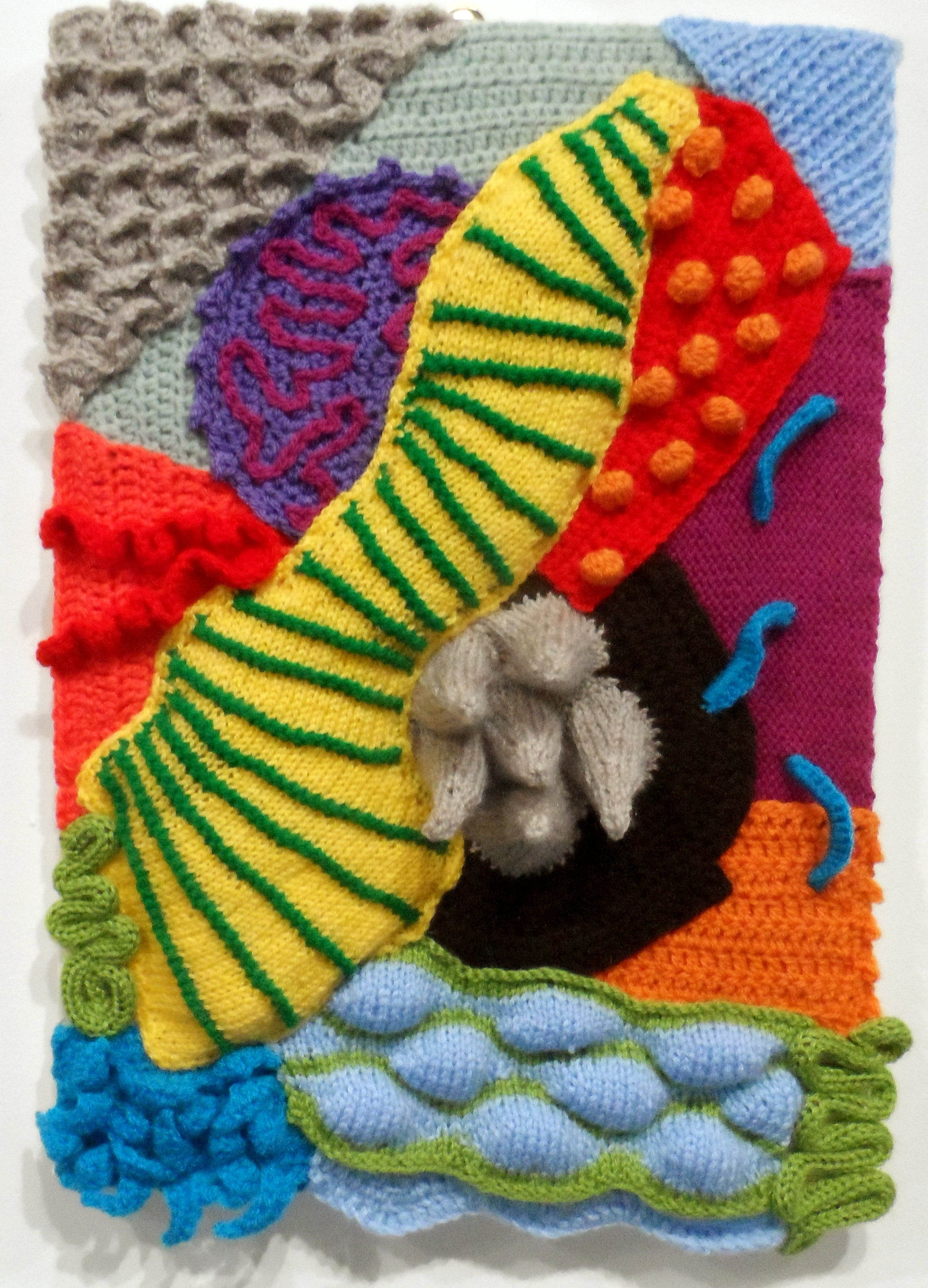 ABSTRACT LANDSCAPE by Ildiko Szabo, freeform knitting, Re-View Textile Group, Frodsham 2019