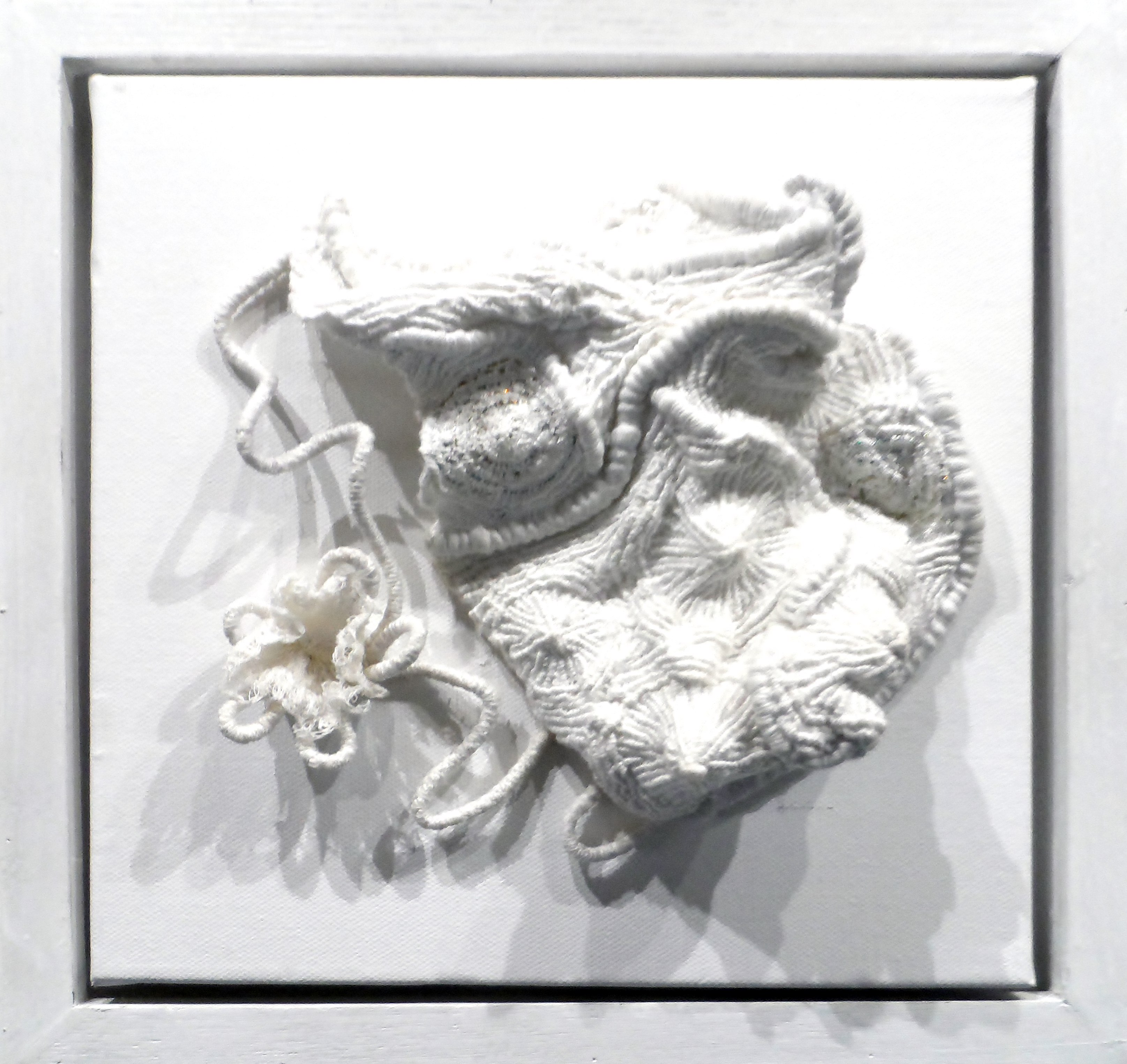 SEASHELLS 1 by Helen Cooper, whitework /manipulated fabric, Re-View Textile Group, Frodsham 2019