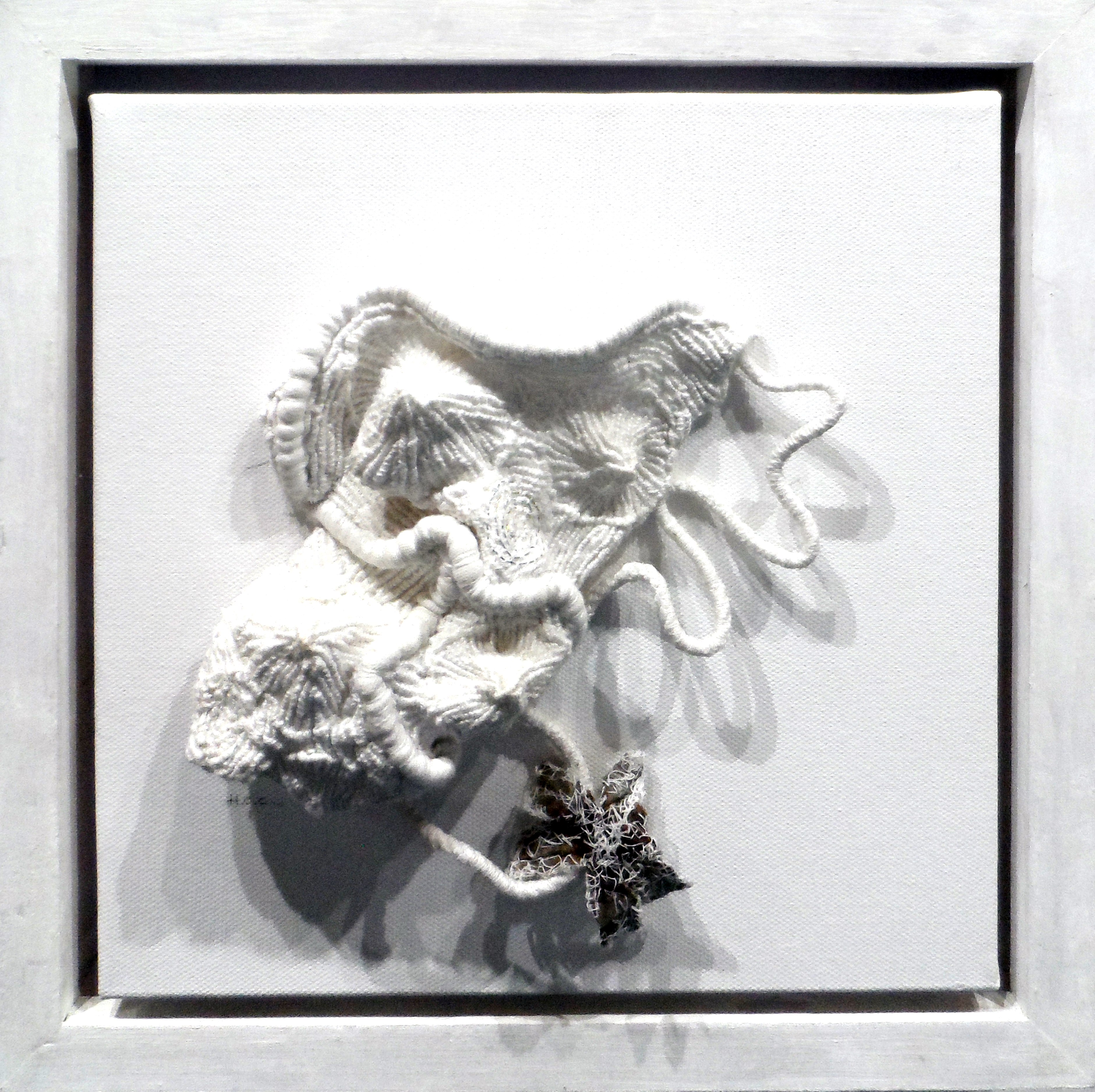 SEASHELLS 2 by Helen Cooper, whitework/manipulated fabric, Re-View Textile Group, Frodsham 2019