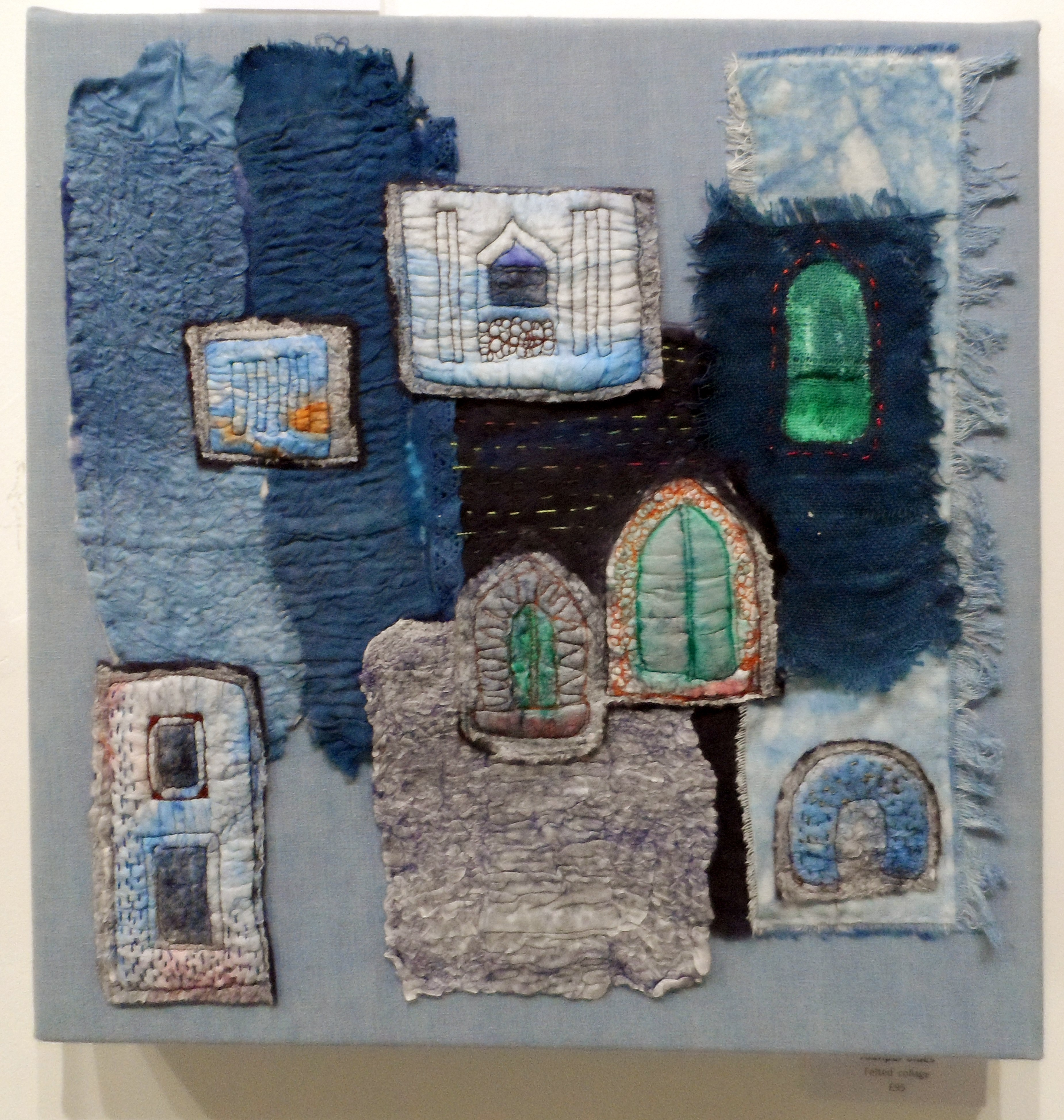 JODHPUR BLUES by Rosey Paul, felted collage, Re-View Textile Group, Frodsham 2019