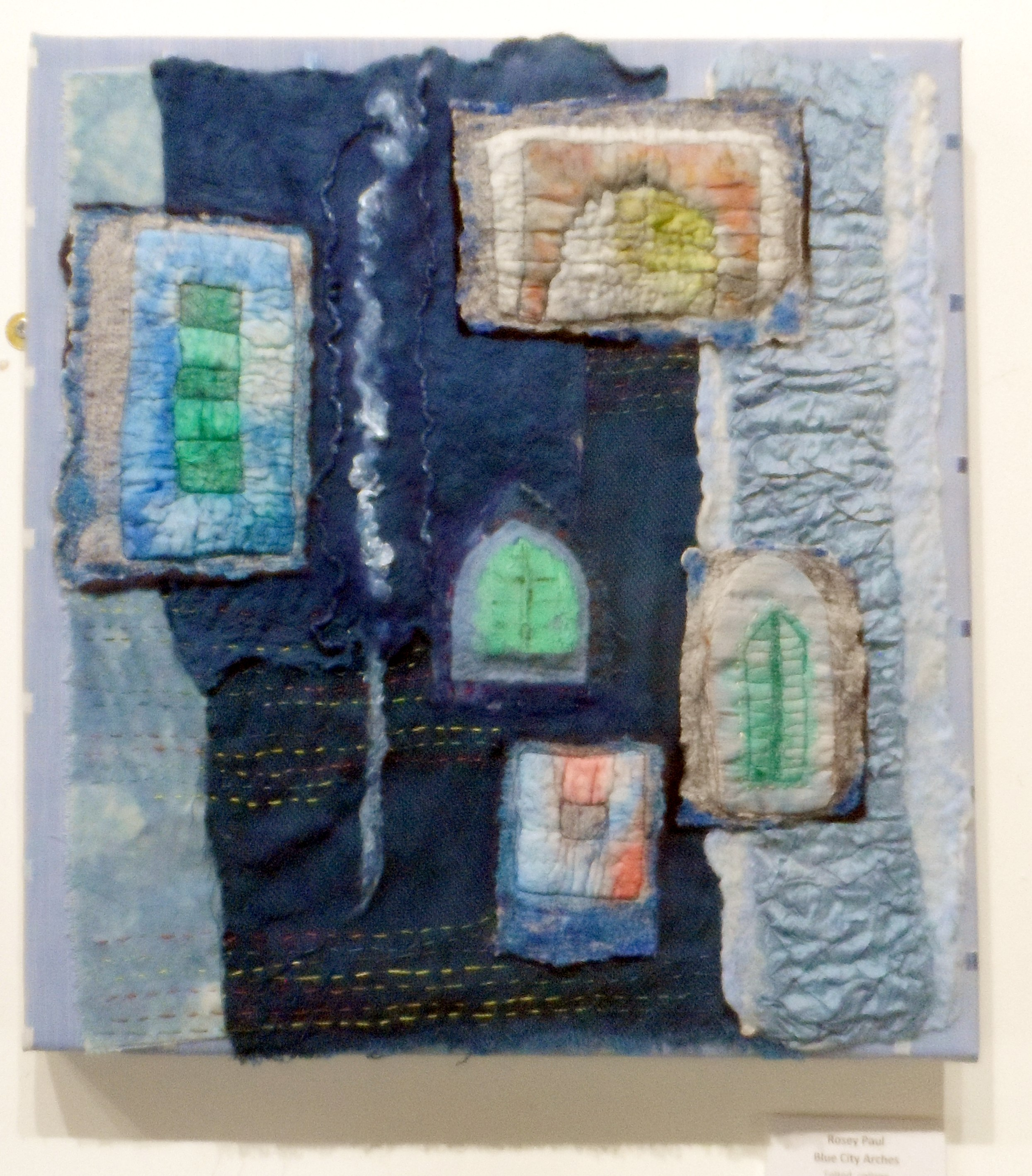 BLUE CITY ARCHES, felted collage, Re-View Textile Group, frodsham 2019