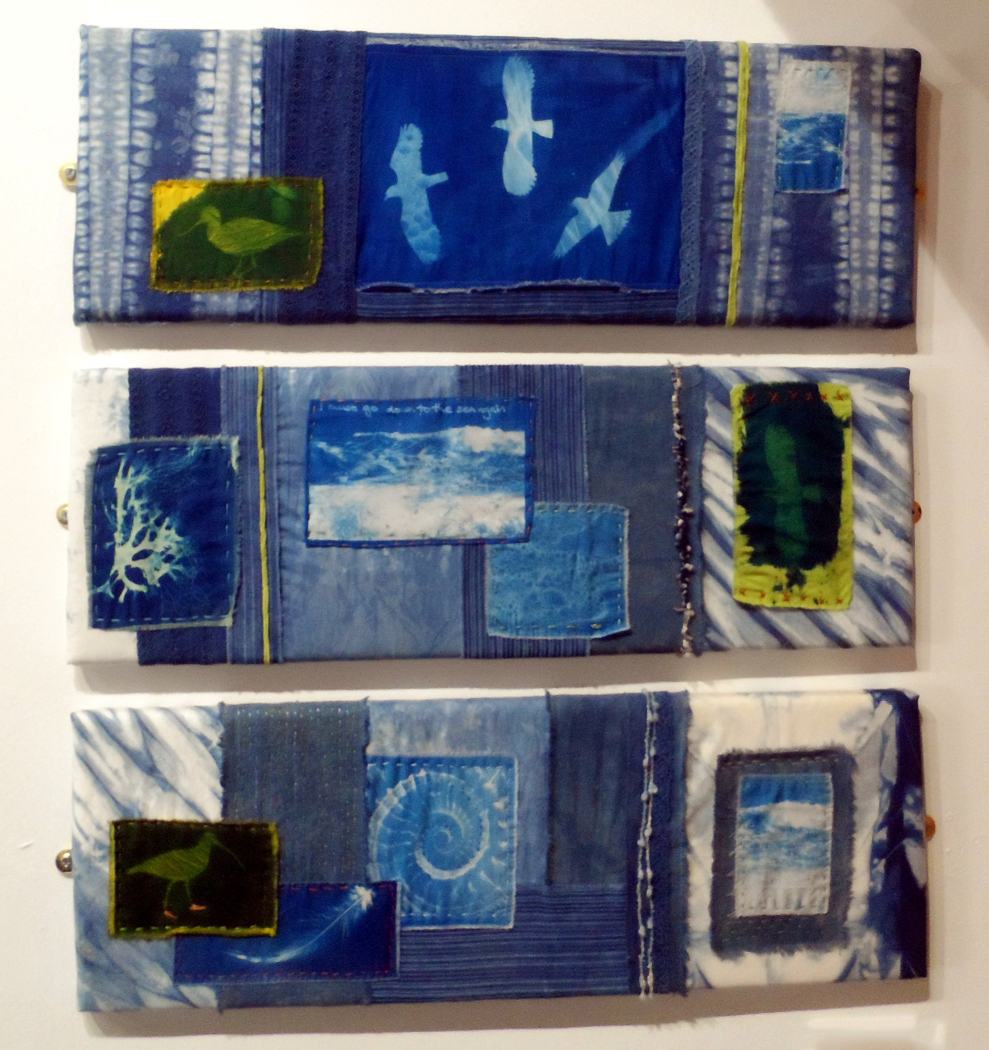 ALL THAT IS BLUE (TRIPTYCH) by Rosey Paul, indigo dye & cyanotype collage, Re-View Textile Group, Frodsham 2019