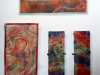FOLLOW THE THREAD, TANGLED THREADS, RED ROCKS 1, RED ROCKS 2 by Mary Bryning, Re-View Textile Group, Frodsham 2019