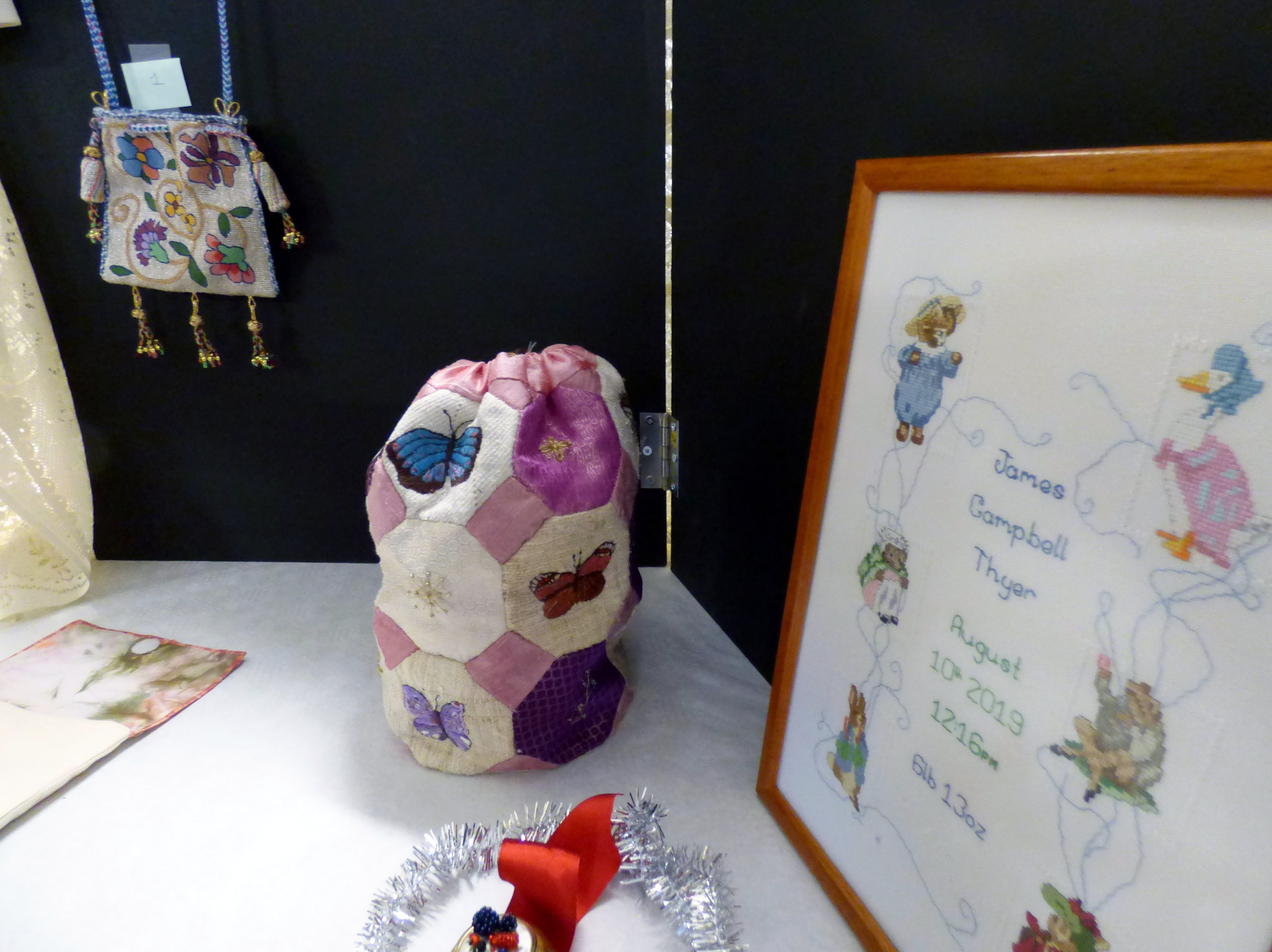 entries to the Traditional Embroidery competition at MEG Christmas Party 2019