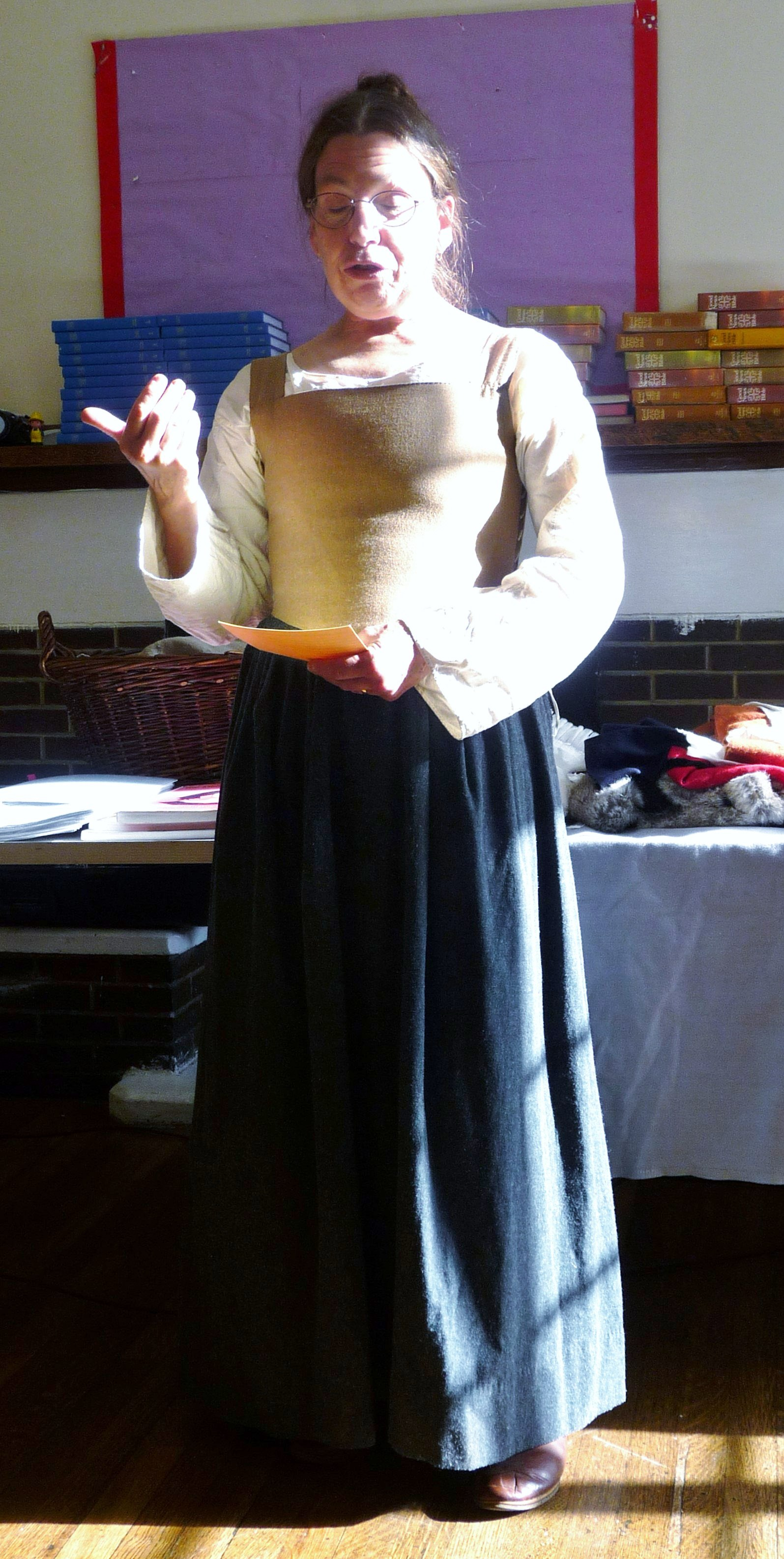 Sarah Thursfield wearing Tudor shift and petticoat with fitted bodice and laced at the sides