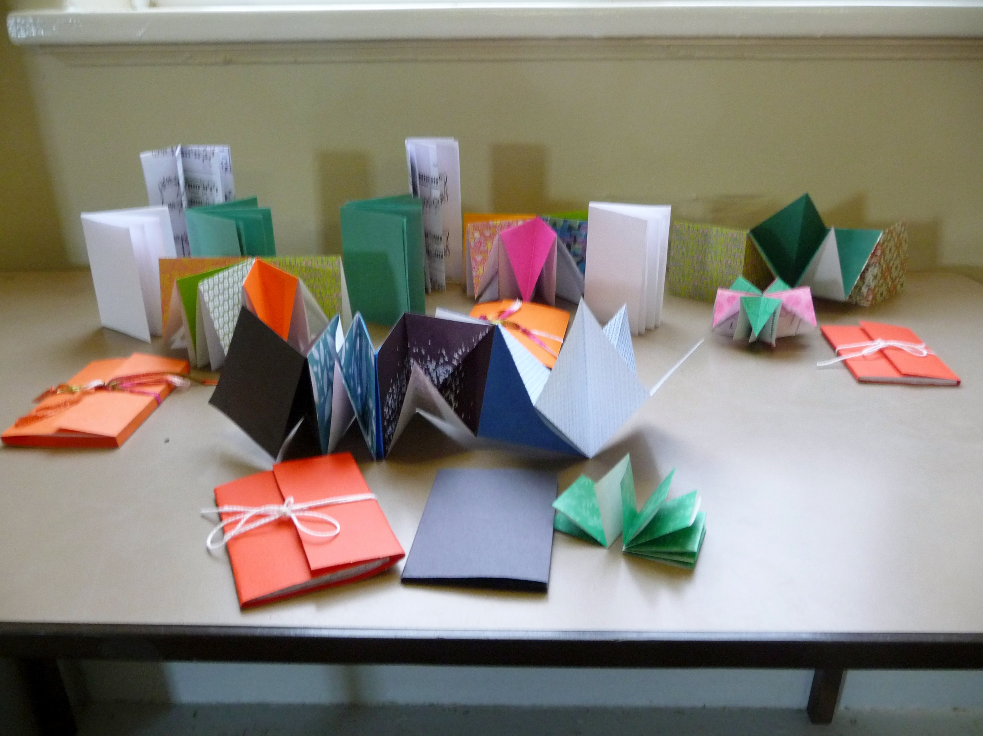 student's work from origami book making workshop, Nov 2015