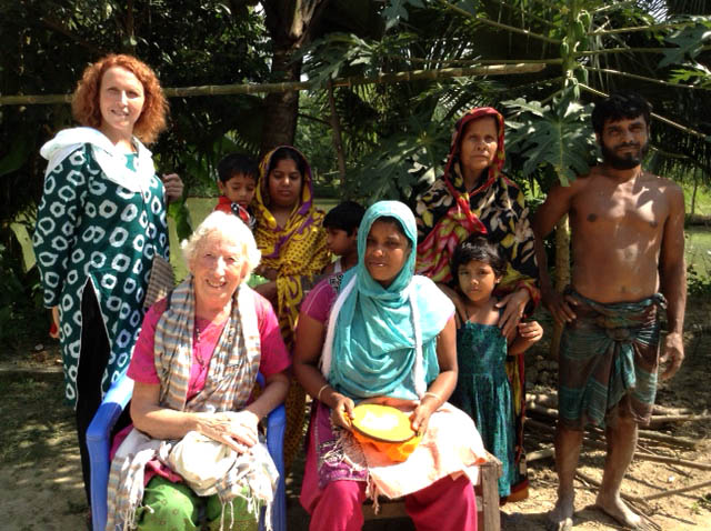 Ruby Porter MBE and her daughter Jeanette visiting some of the mothers who are making embroidery in Sreepur, Bangladesh