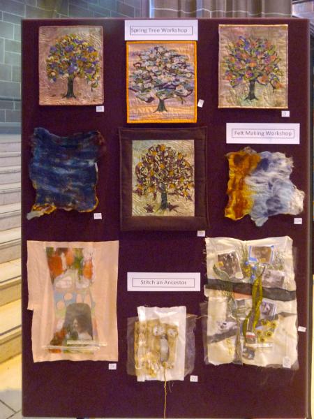 samples from Spring Tree workshop, Felt Making workshop and Stitch an Ancestor workshop