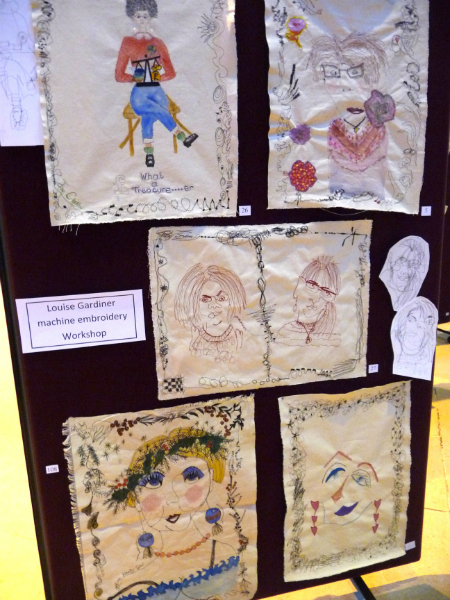 samples from Louise Gardiner machine embroidery workshop