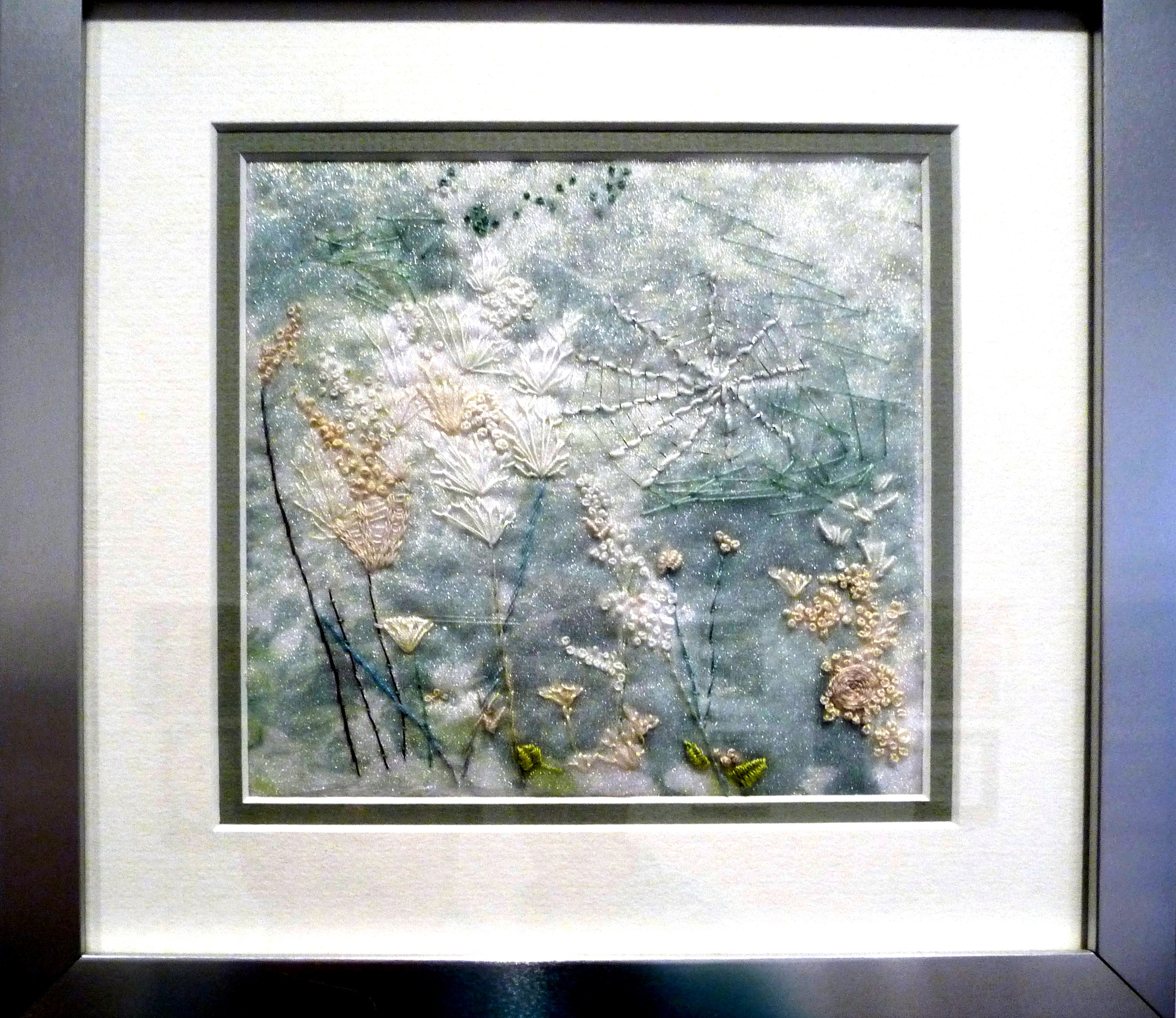 WOODLAND WALK by Ann Heather, hand stitched on to photographic image