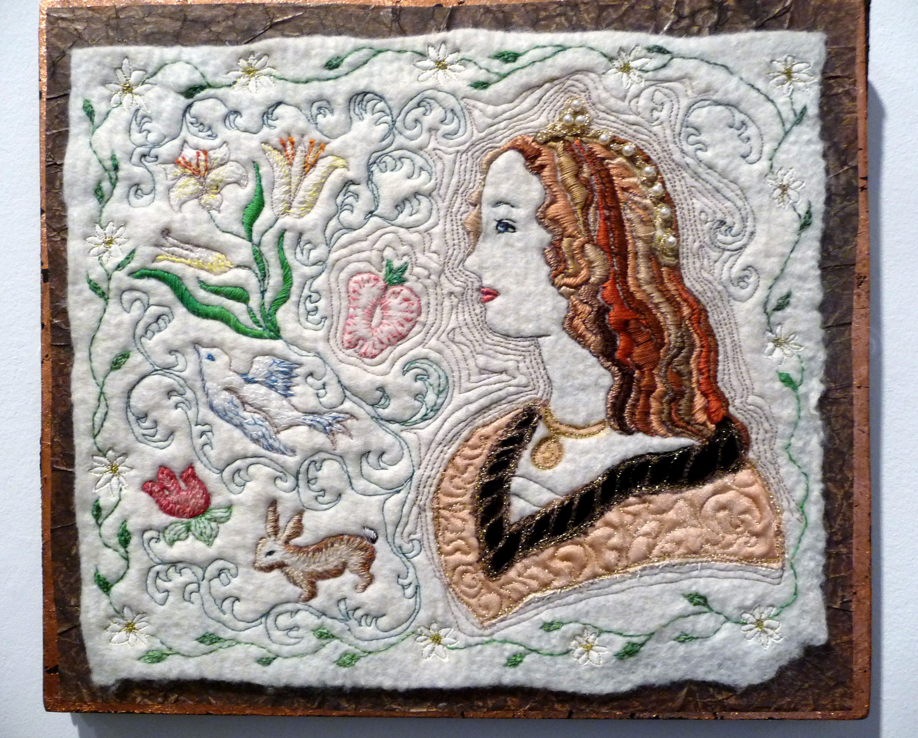 PEARL PRINCESS by Brenda Brown, hand and machine embroidery