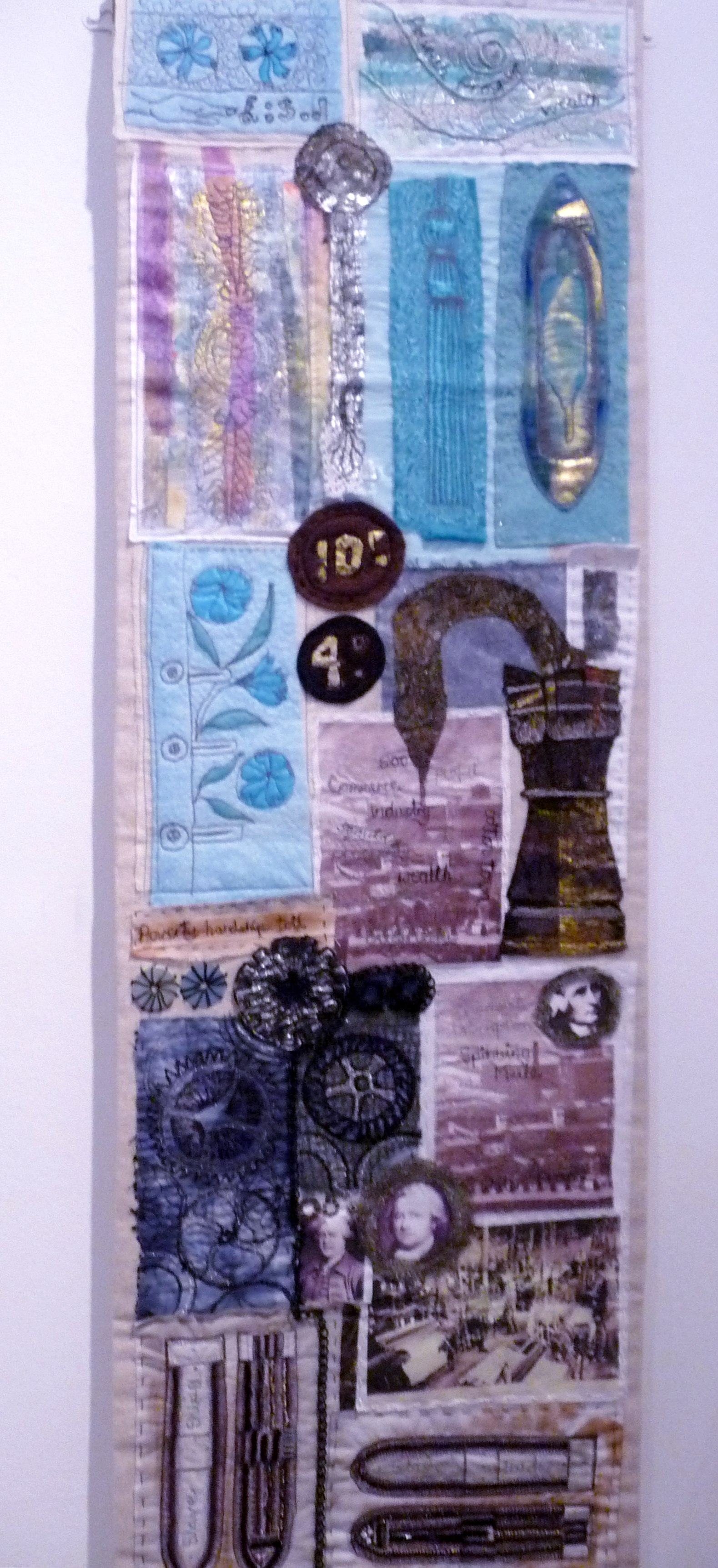THE MILL AGE by Brenda Brown, mixed media with applique