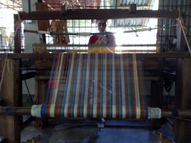 A loom in the new weaving shed, Sreepur, Bangladesh