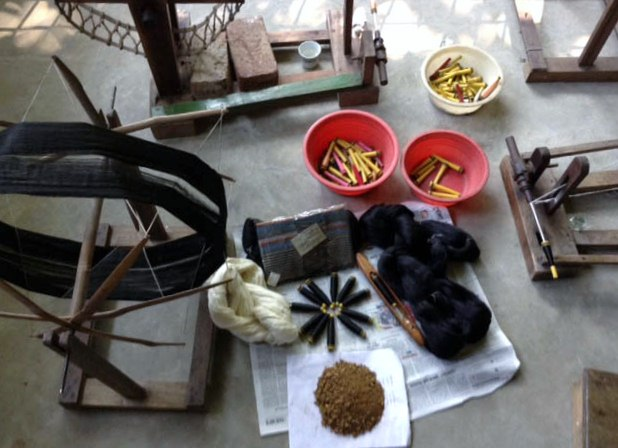 These are some of the materials used to make natural dyes in Sreepur, Bangladesh. There are the materials for dyeing, raw dalam (a fruit making the colour black)