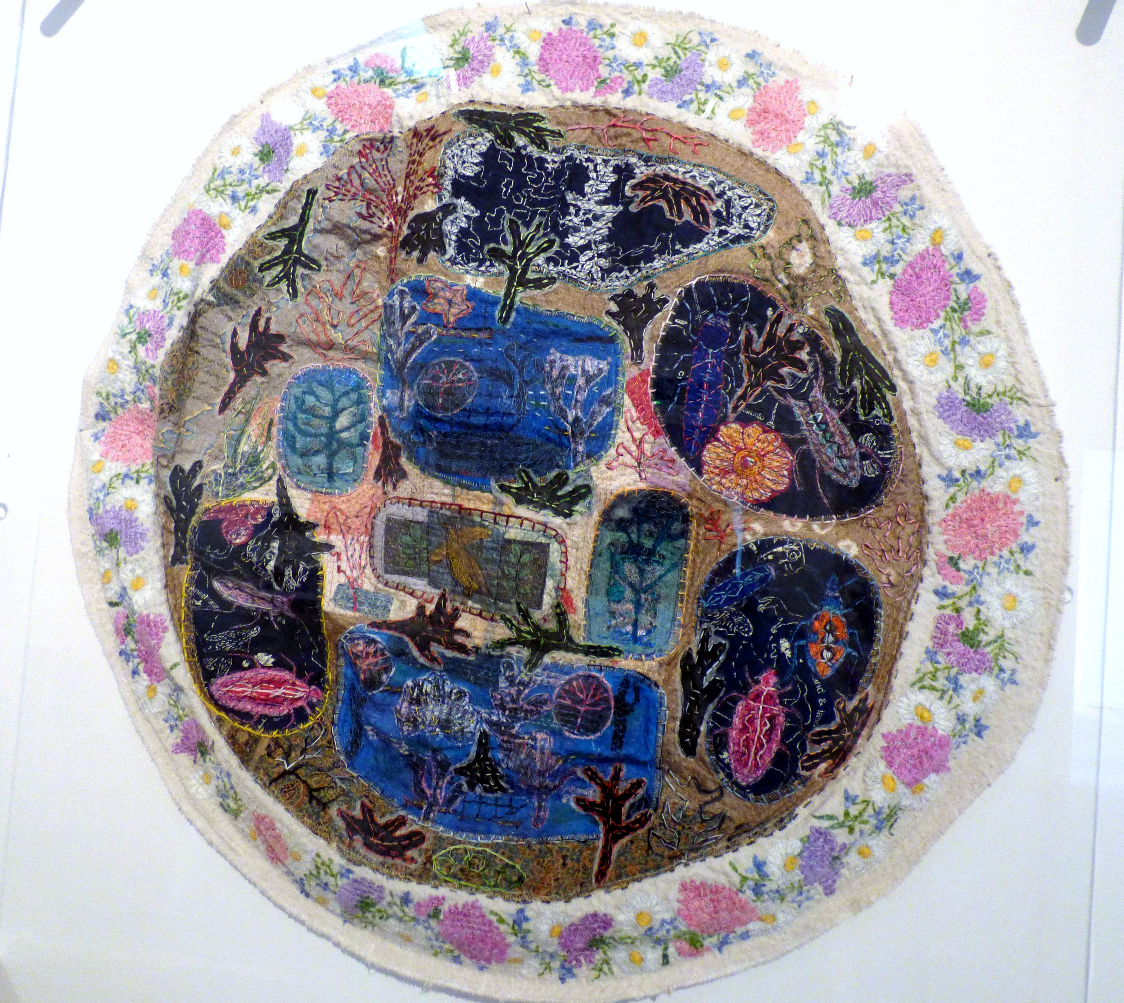 UNDERSEA, mixed media textiles by Anne Kelly, Ruthin Craft gallery, July 2021