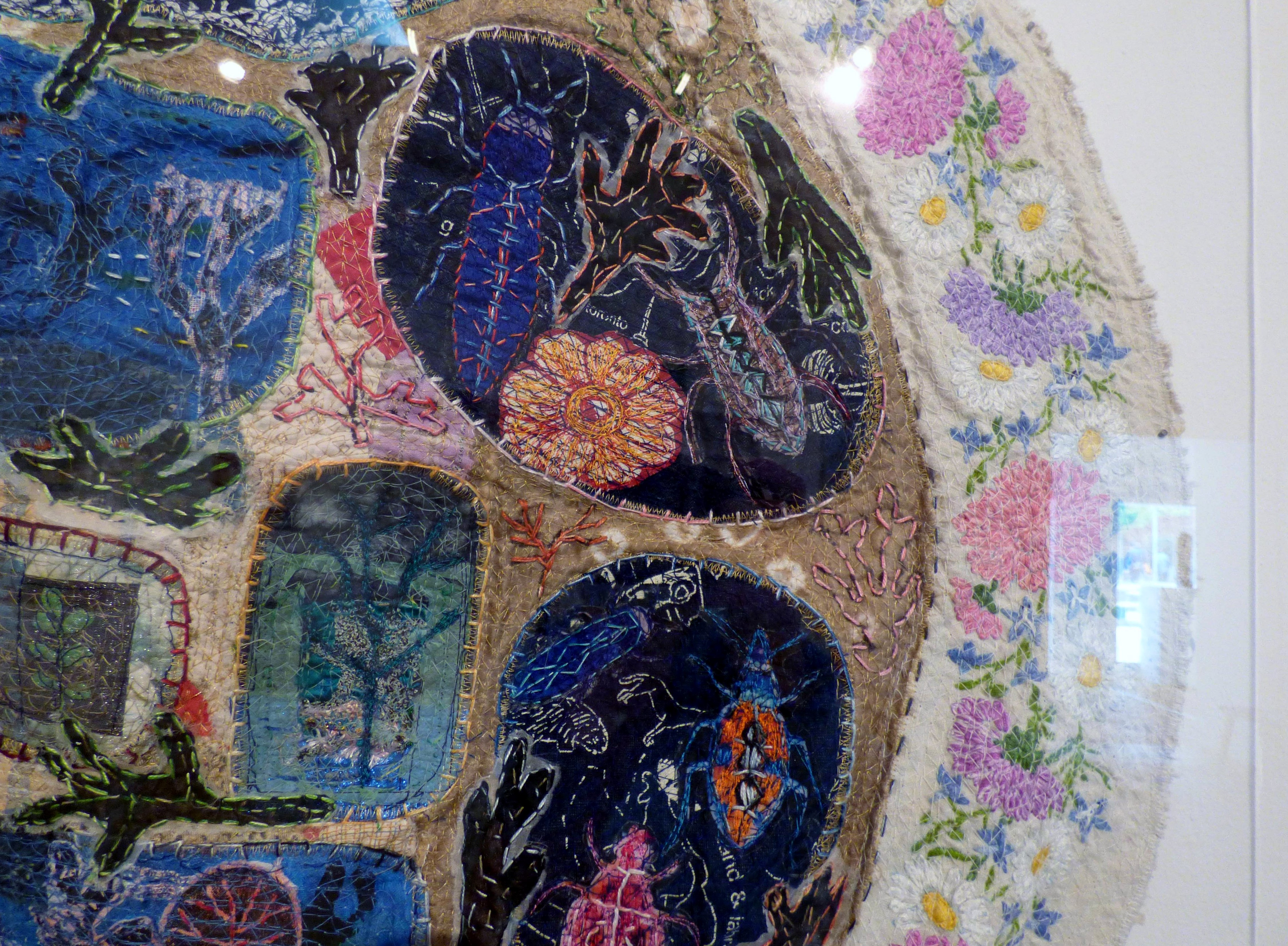 (detail) UNDERSEA, mixed media textiles by Anne Kelly, Ruthin Craft gallery, July 2021