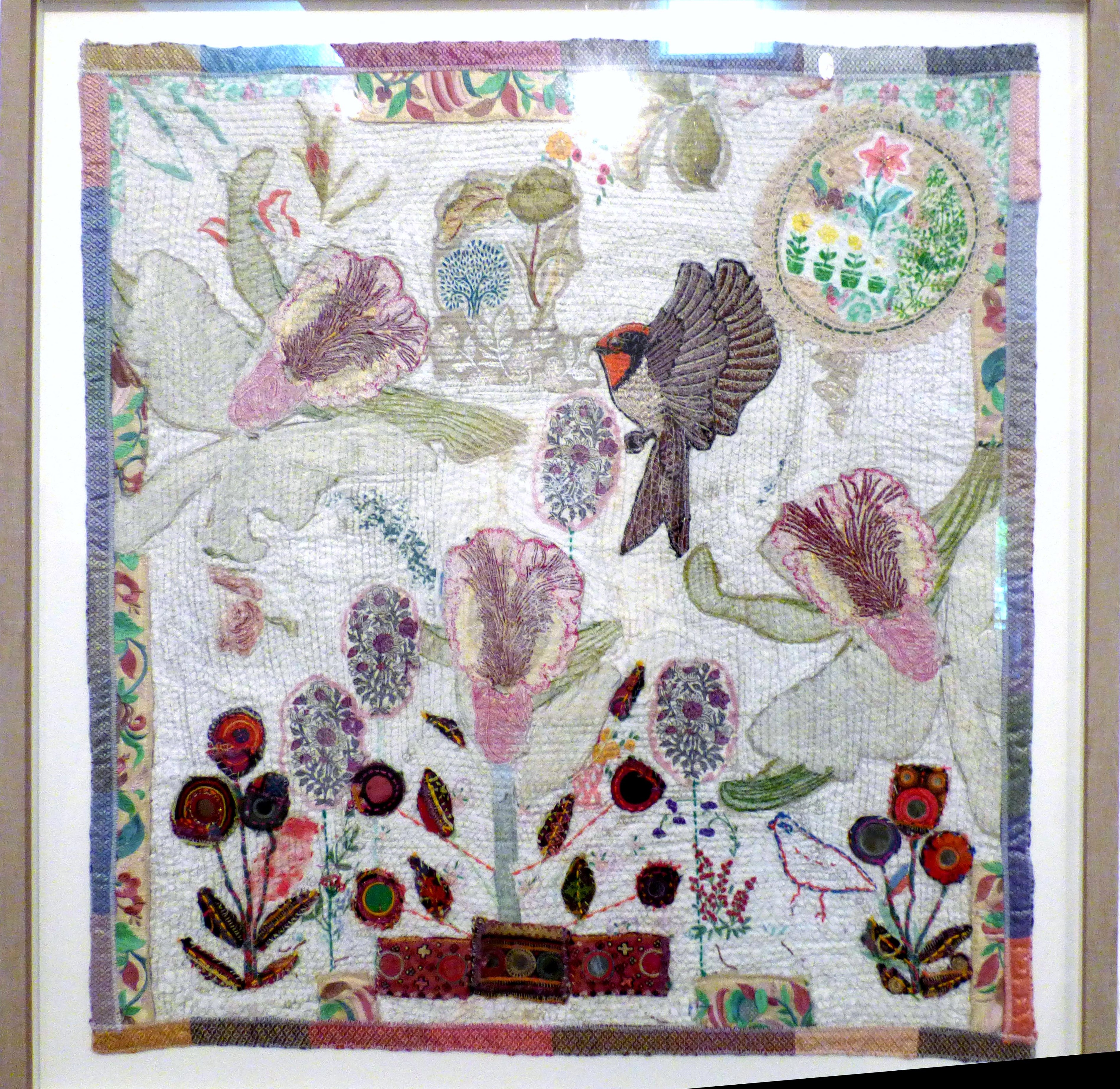MAHARINI Gardens, mixed media textiles by Anne Kelly, Ruthin Craft Gallery, July 2021