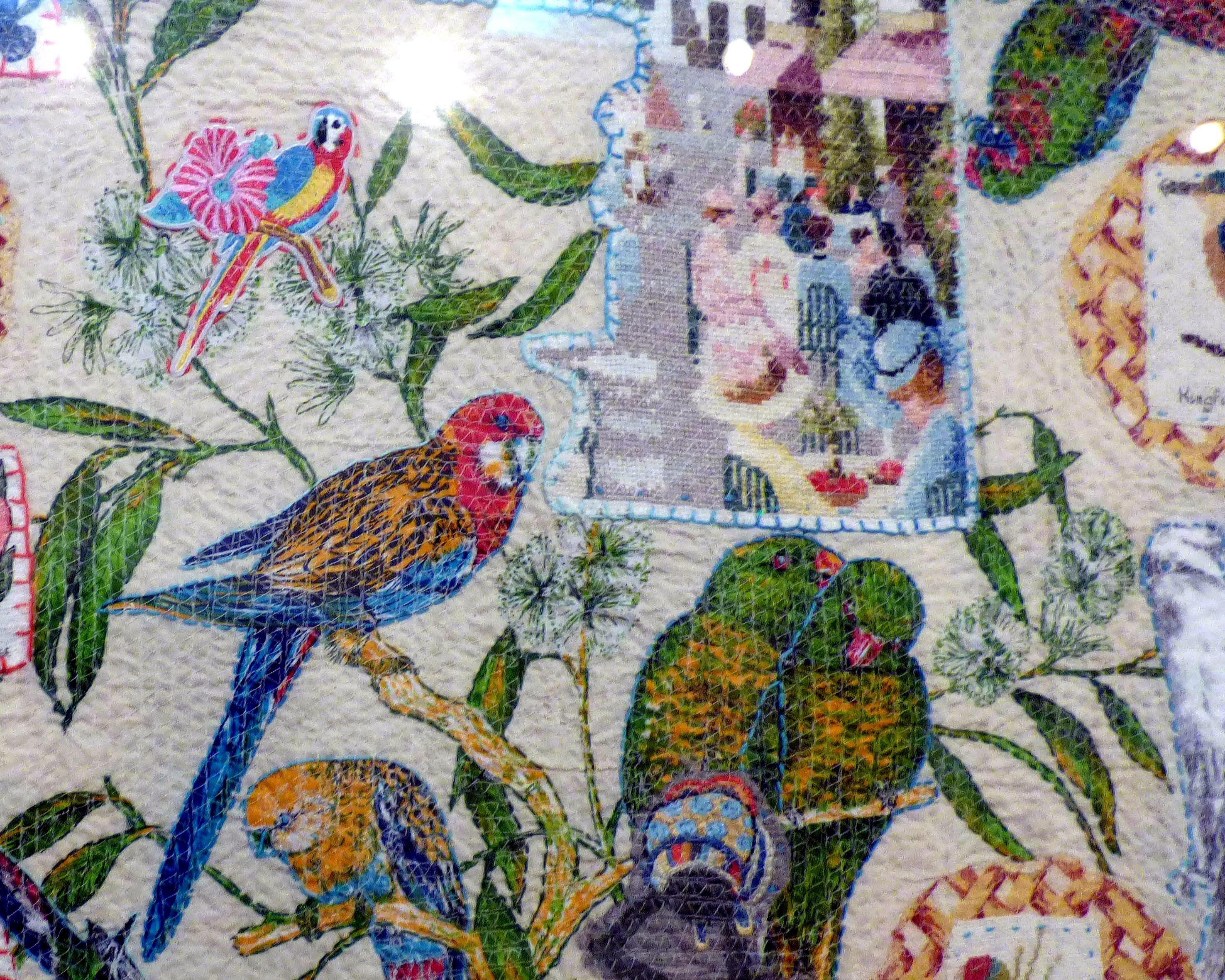 (detail) AUSTRALIANS, mixed media textiles by Anne Kelly, Ruthin Craft Gallery, July 2021