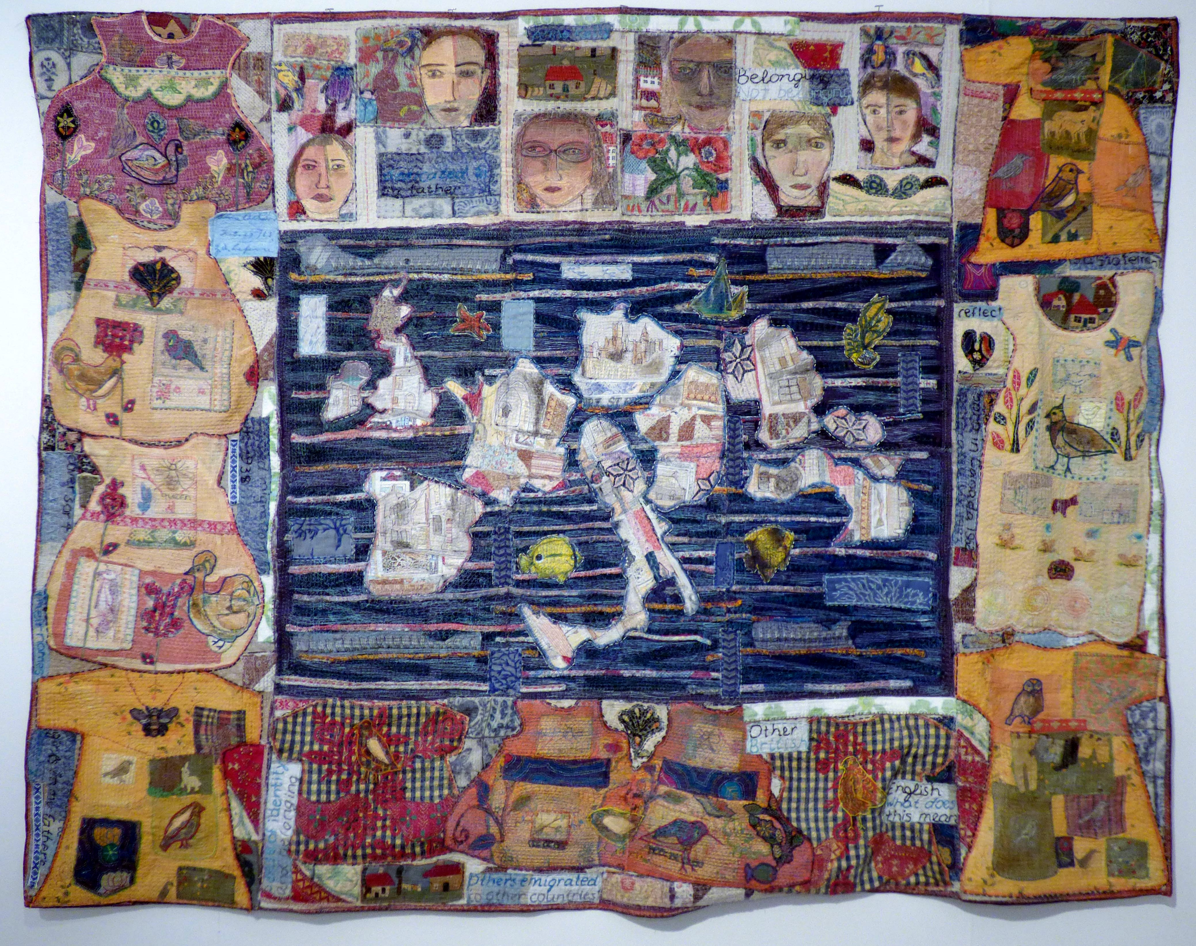 EUROPEANS, mixed media textiles by Anne Kelly, Ruthin Craft Gallery, July 2021