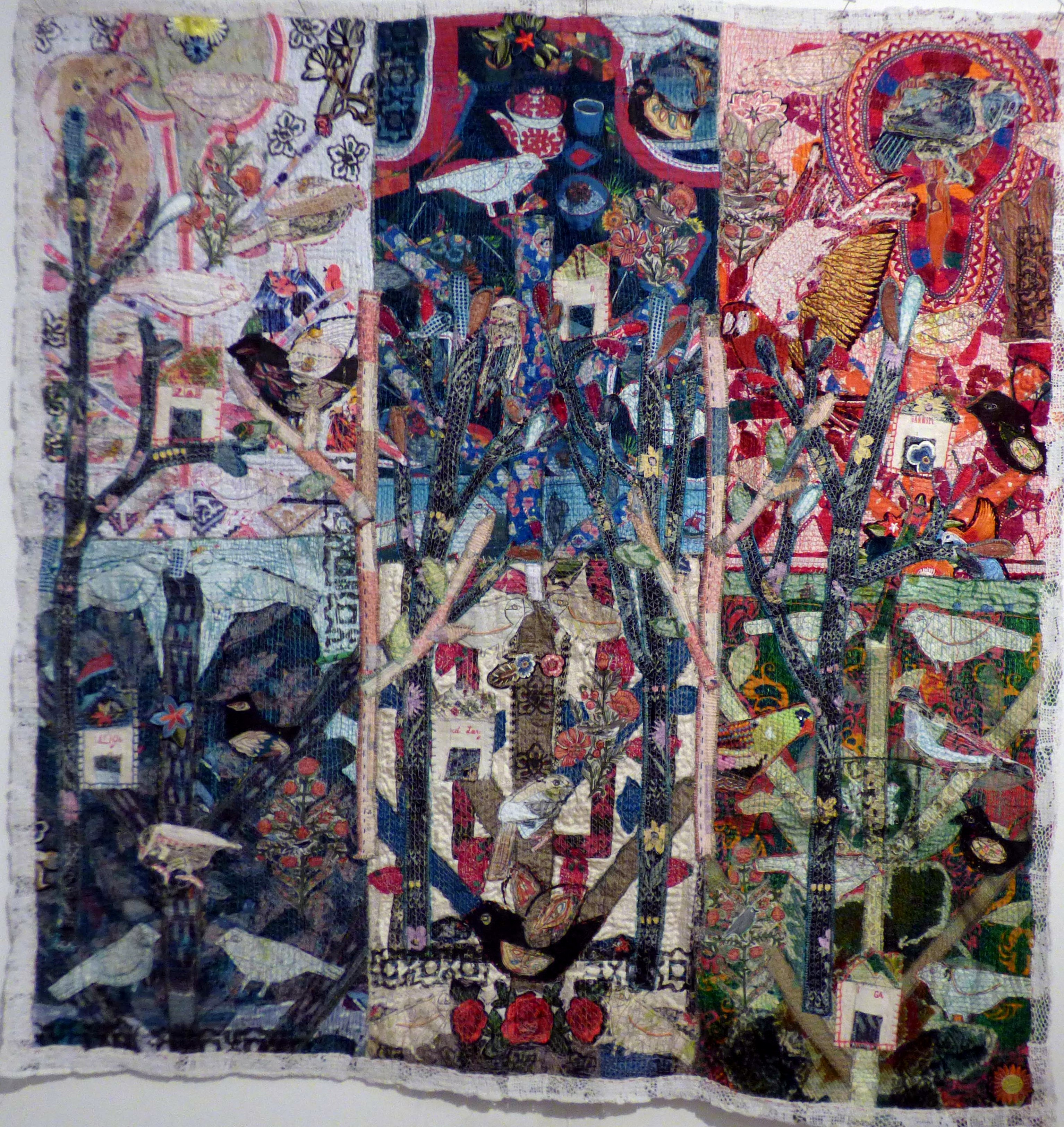 WORLD BIRD TREE, mixed media textiles by Anne Kelly, Ruthin Craft Gallery, July 2021
