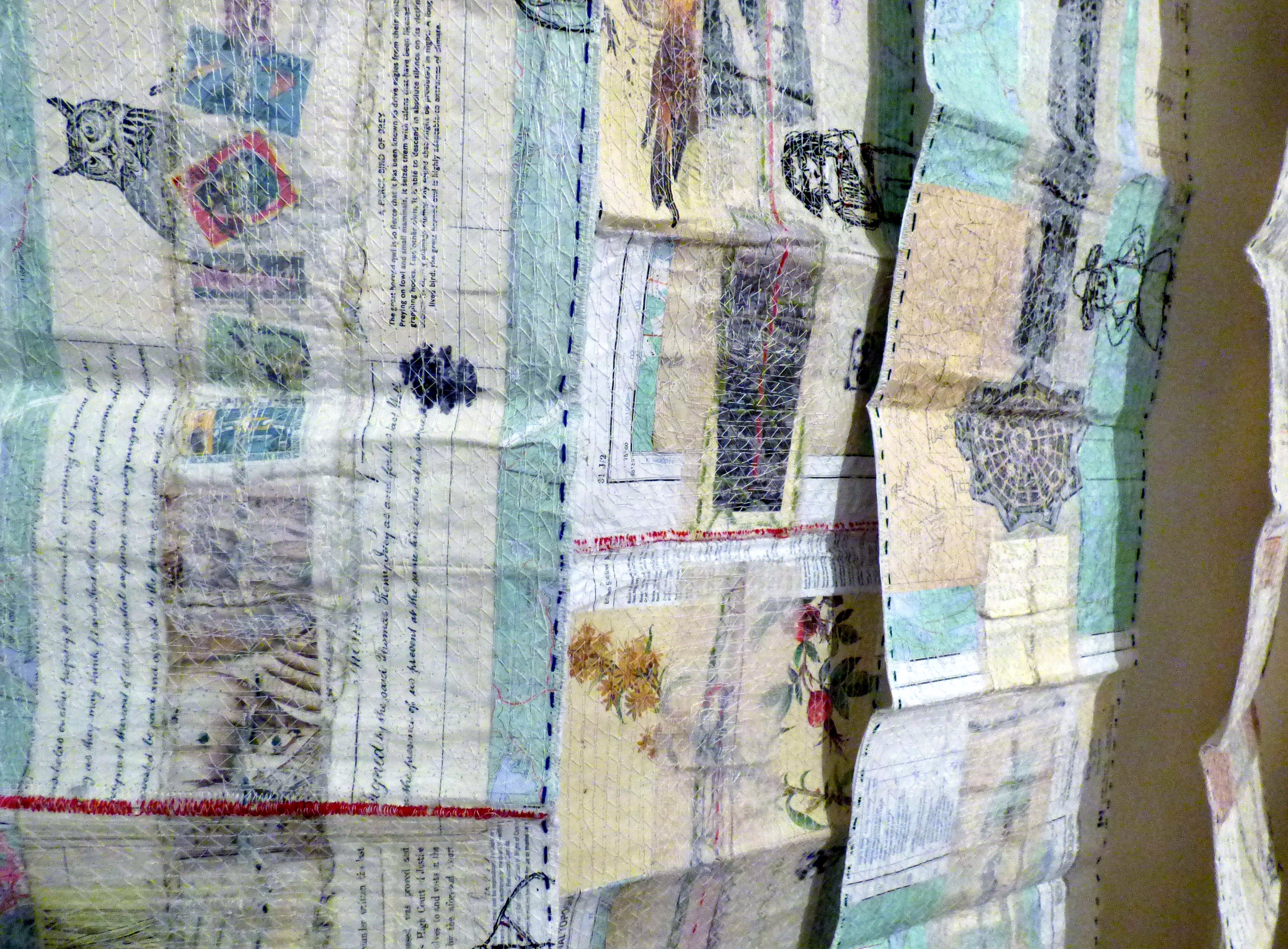 (detail) PARK WALK SKETCHBOOKS, mixed media textiles by Anne Kelly, Ruthin Craft Gallery, July 2021