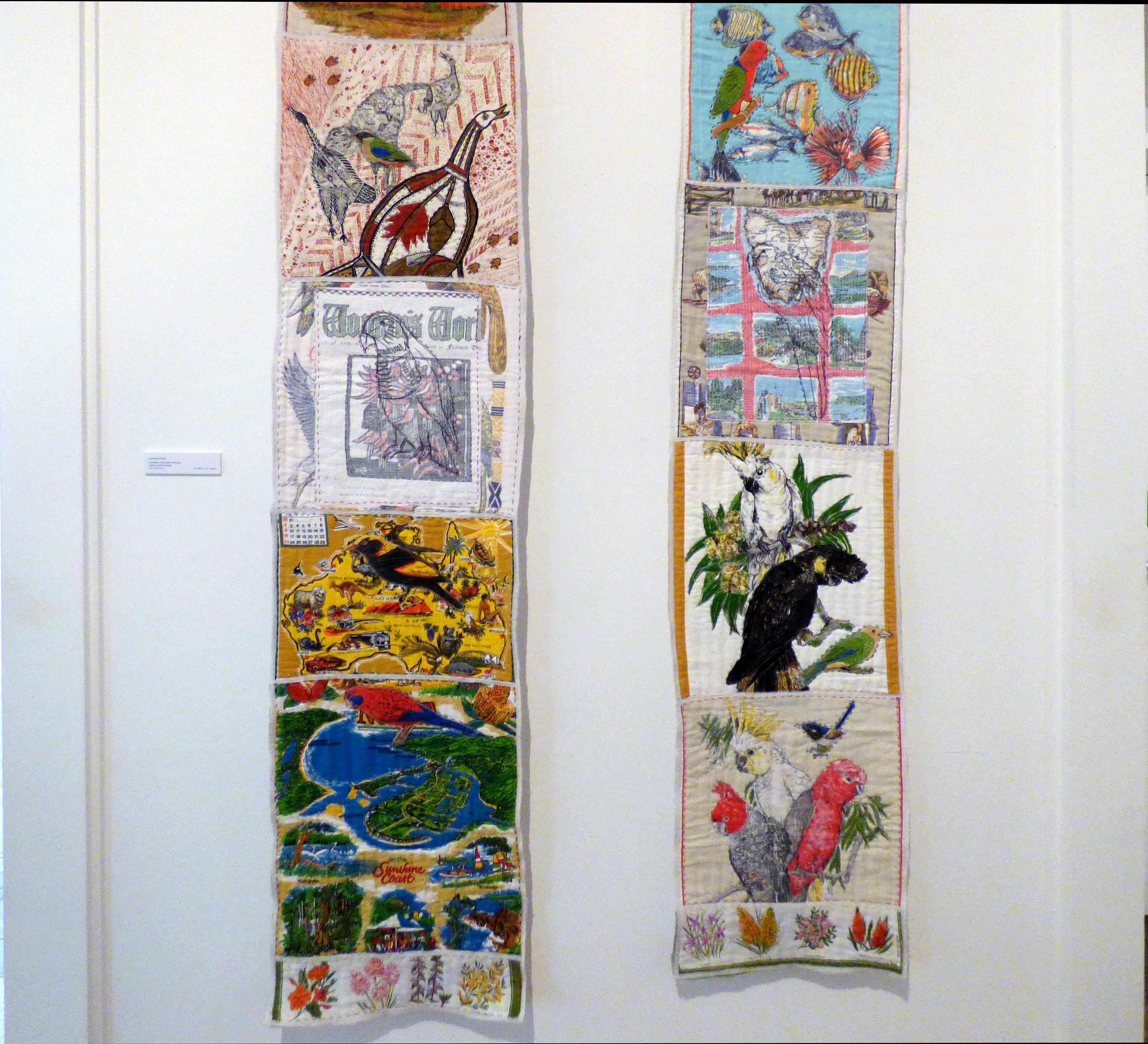 AUSTRALIAN BIRDS, mixed media textiles by Anne Kelly, Ruthin Craft Gallery, July 2021