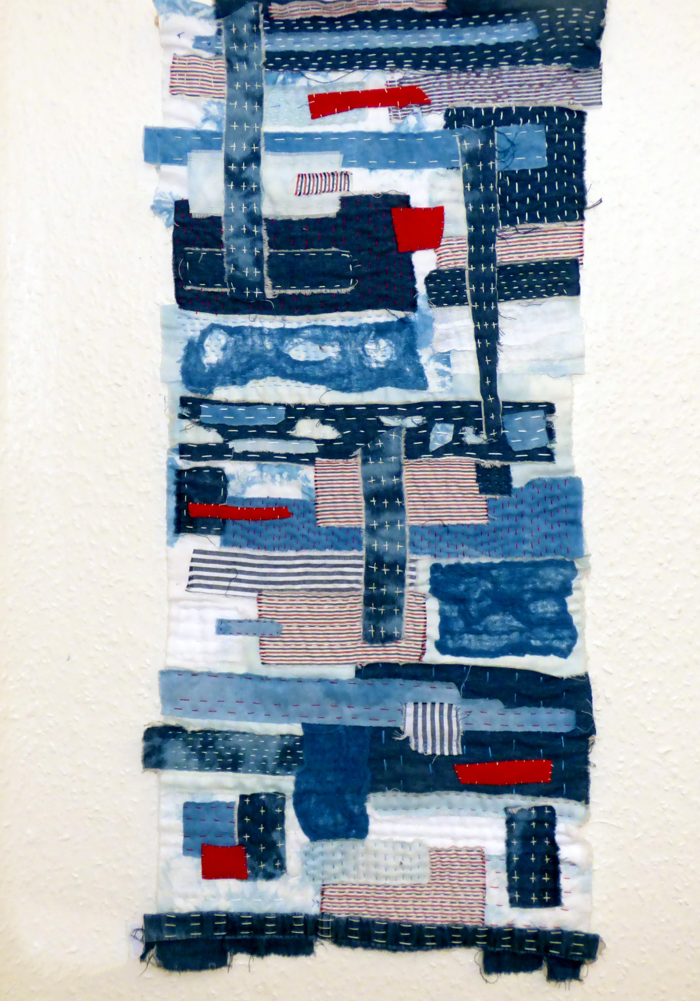 RAGTIME by Diane Anderson, Boro cloth wall hanging