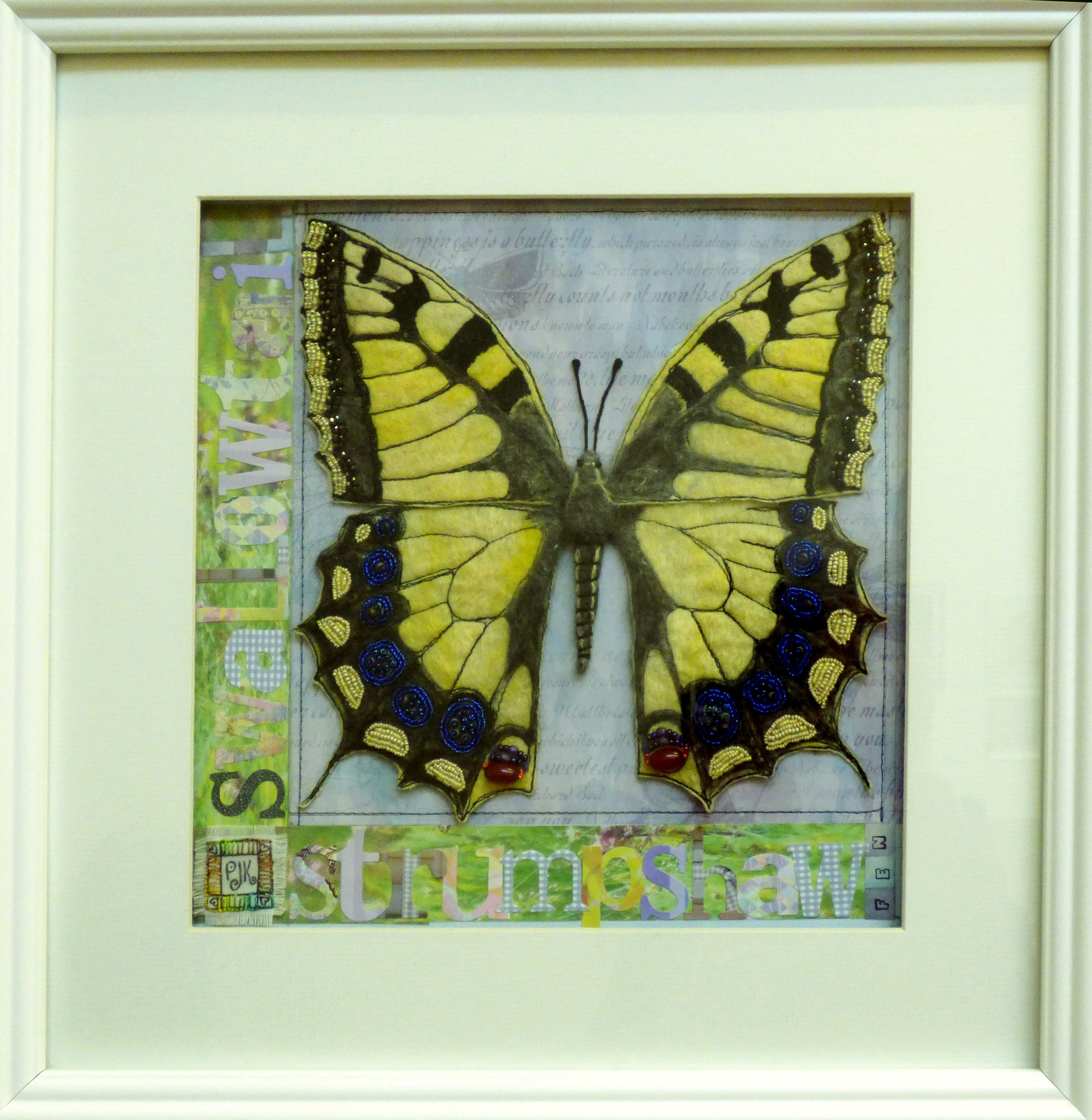 SWALLOWTAIL BUTTERFLY by Patricia Jane King, mixed media with freehand machining and beads
