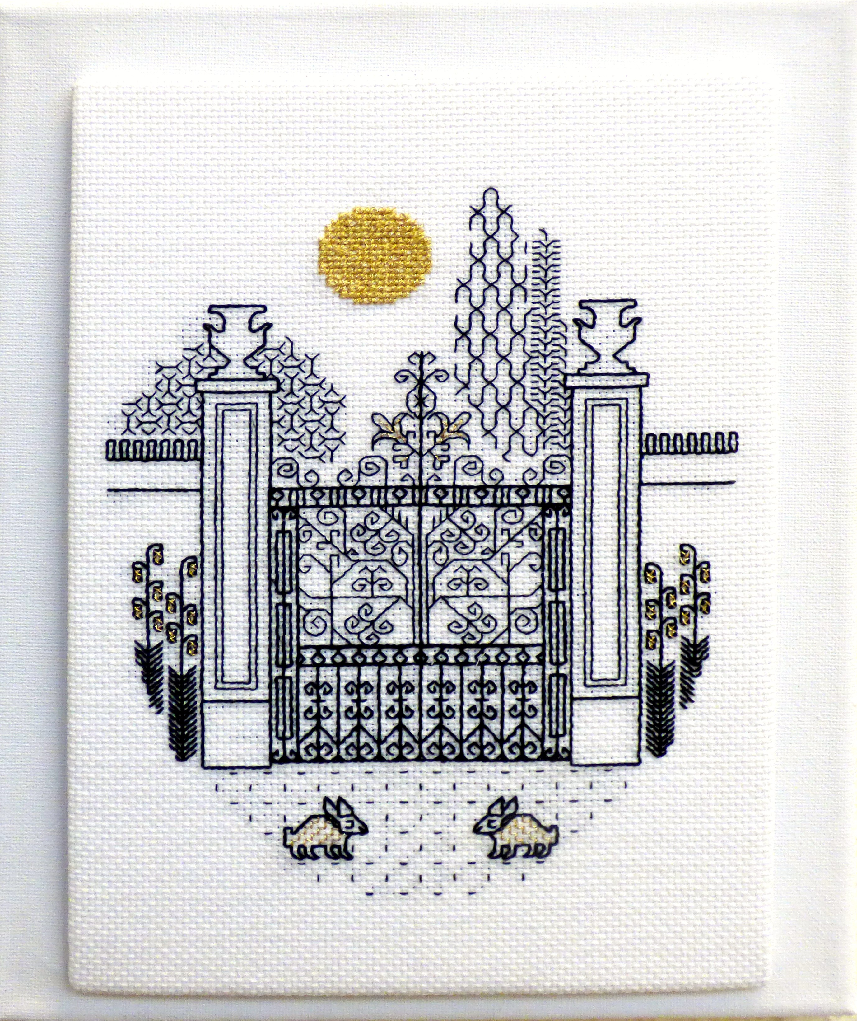 DECORATIVE GATES IN MOONLIGHT by Gillian Lacy, blackwork with gold accents