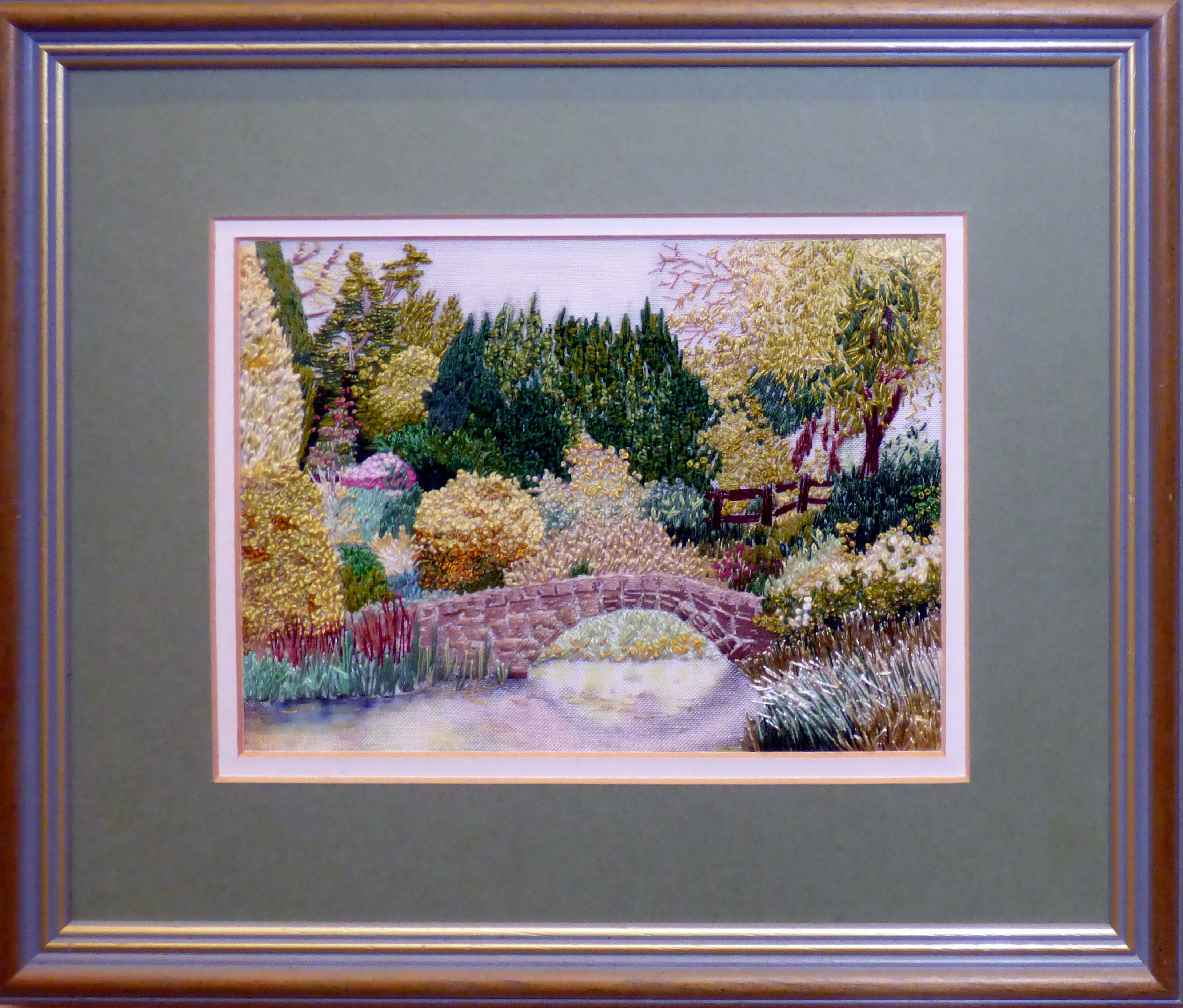 THE POND IN THE ROCK GARDEN AT NESS GARDENS by Gill McKaigue, painting and hand stitching