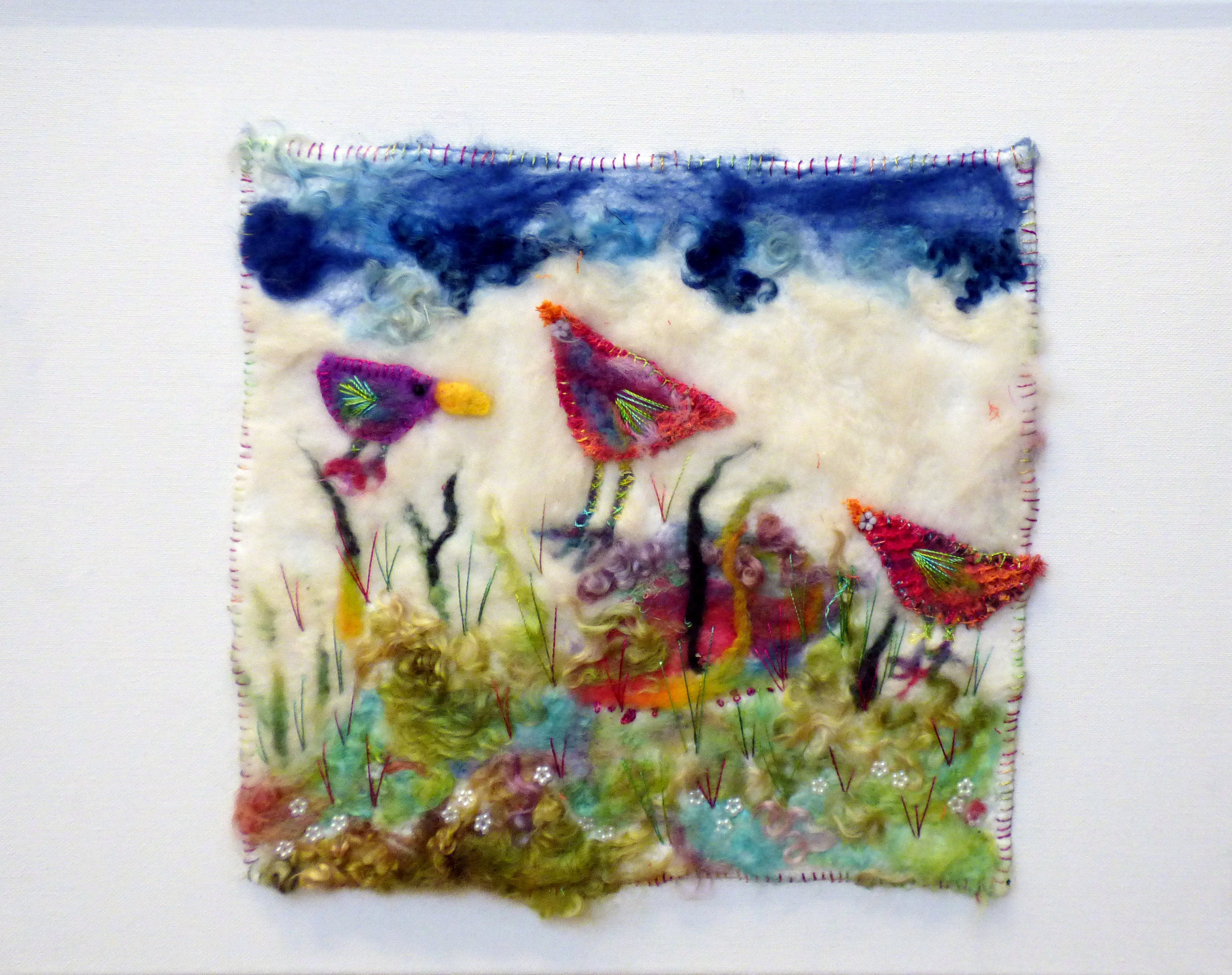 FLY AWAY PETER, FLY AWAY PAUL by Judith Fabby, dry felting, machine and hand stitching