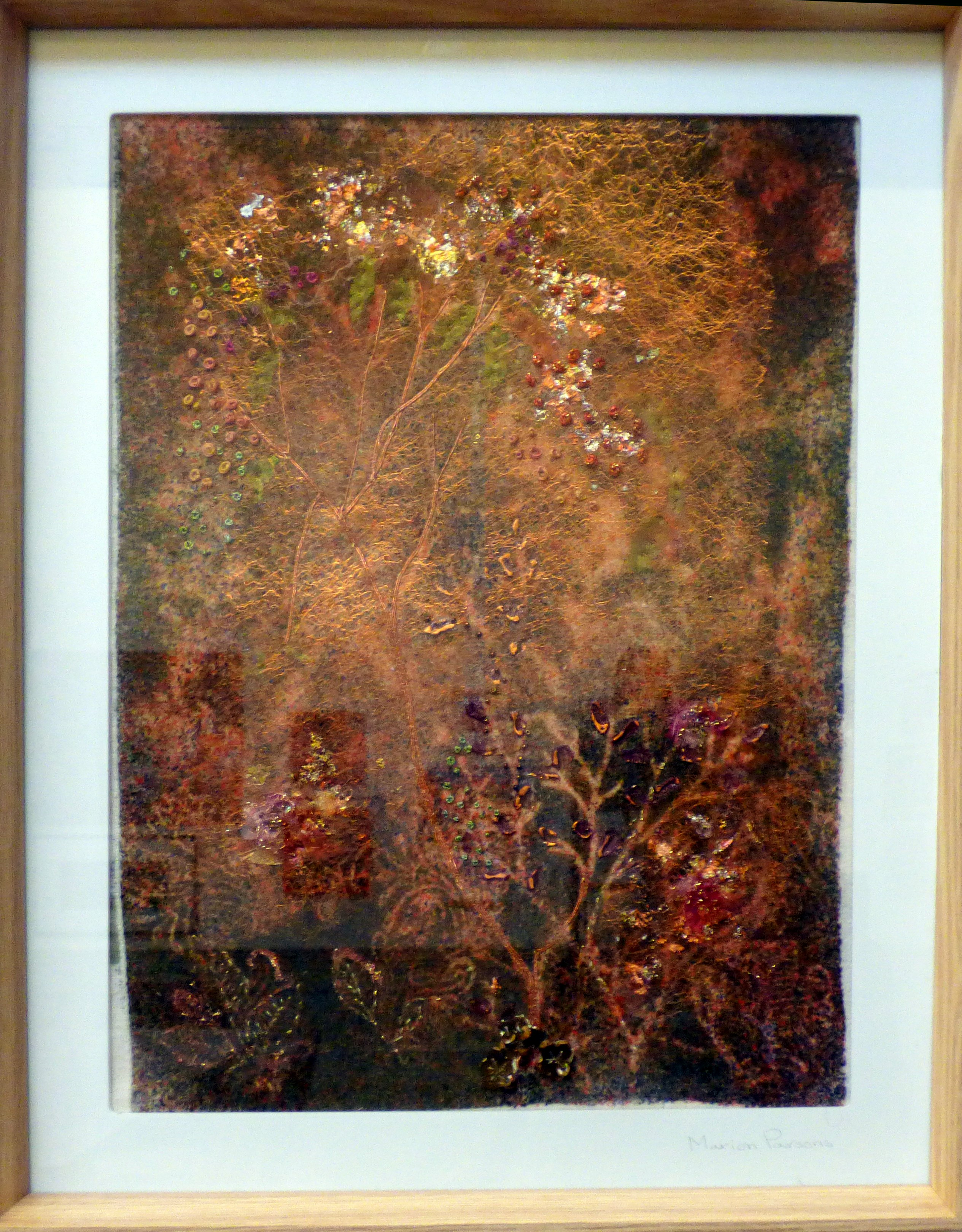 COPPER GARDEN by Marion Parsons, mixed media, dyed velvet, stitch