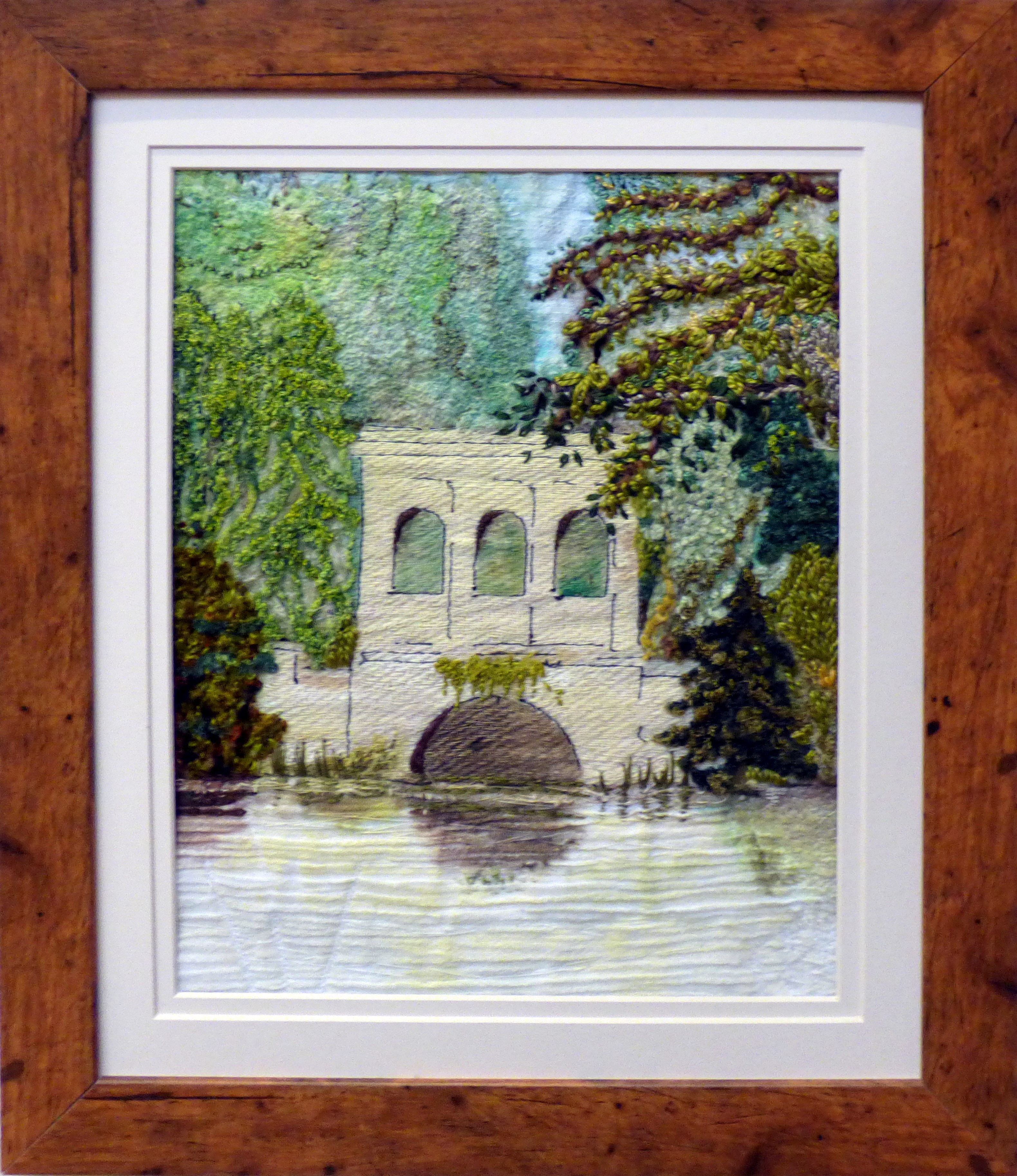 BIRKENHEAD PARK by Kate Cook, hand stitching on painted fabric