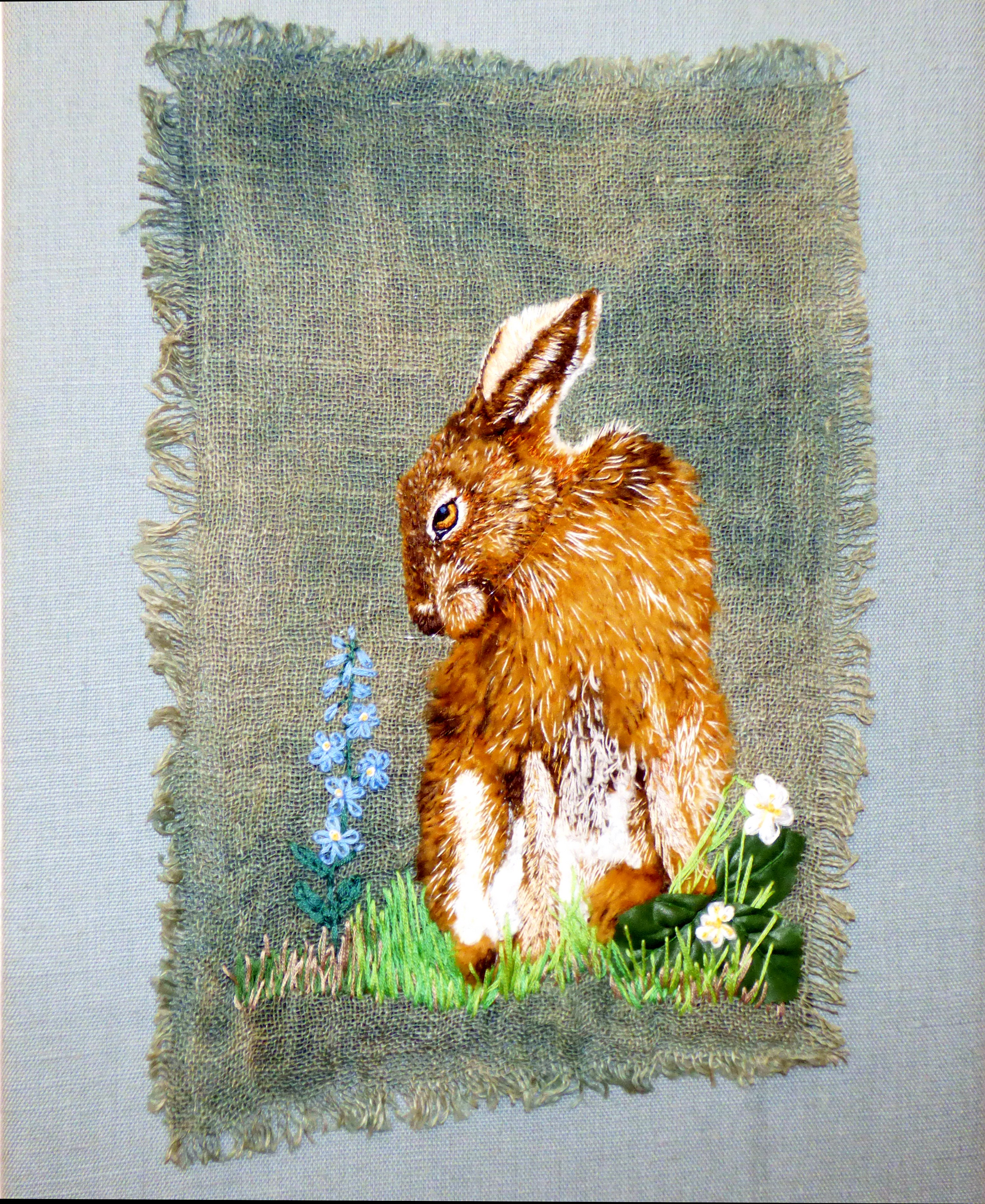 HARE by Linda Herbert, hand dyed ground and sculpted fur fabric with hand embroidery