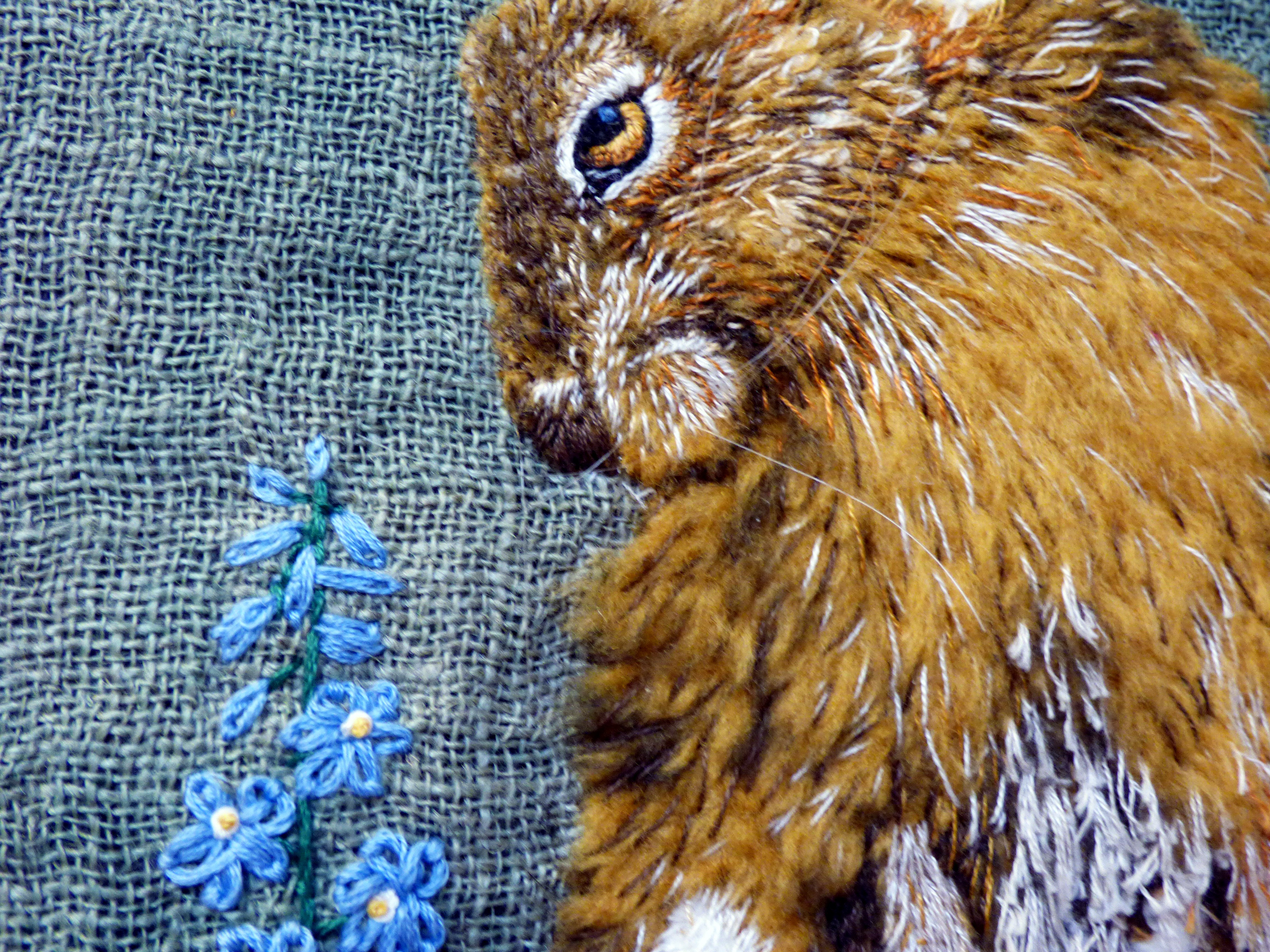 (detail) HARE by Linda Herbert, hand dyed ground and sculpted fur fabric with hand embroidery