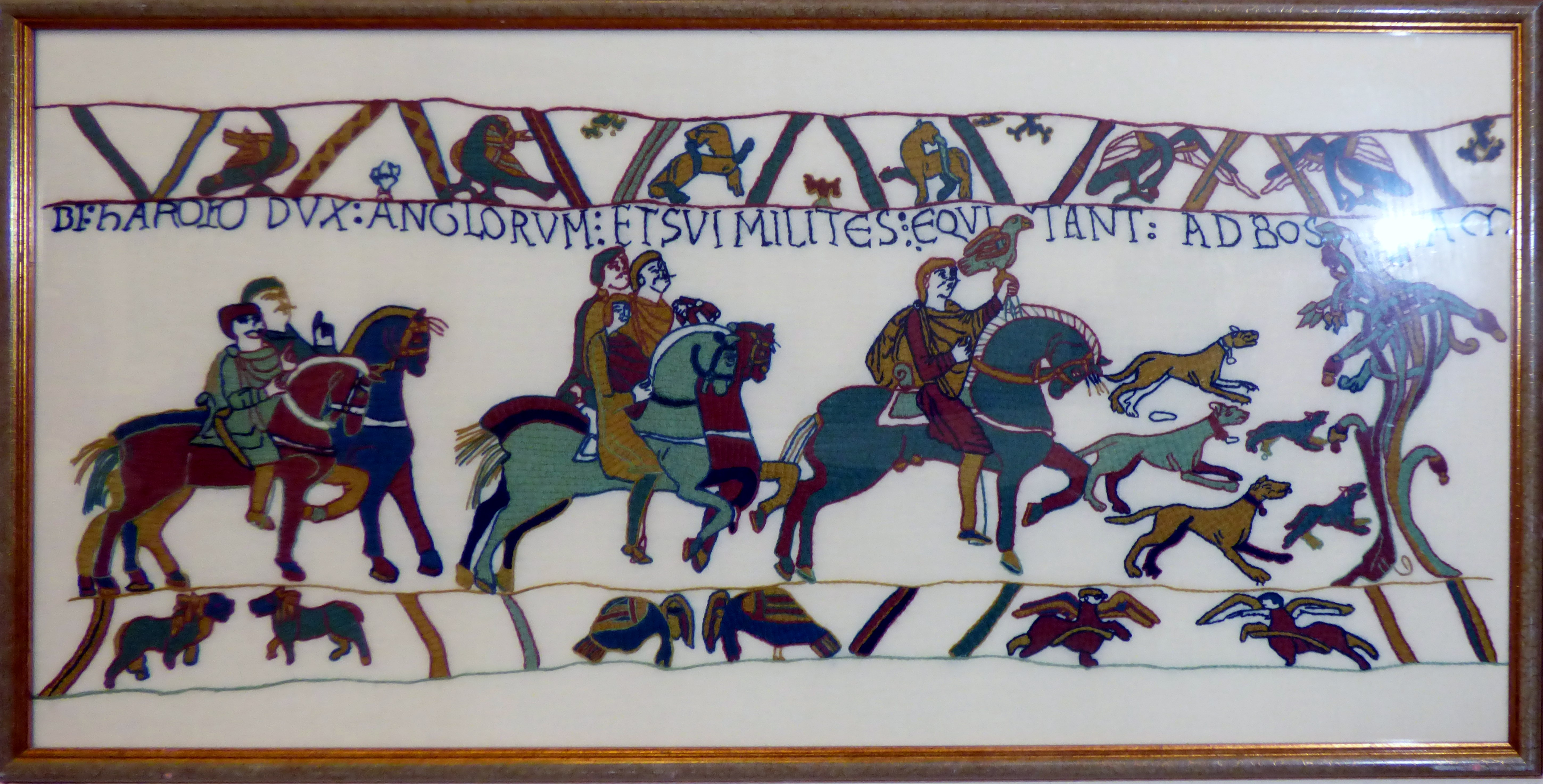 BAYEUX TAPESTRY SCENE by Fiona McCabe, Bayeux stitch in wools on pre-printed fabric