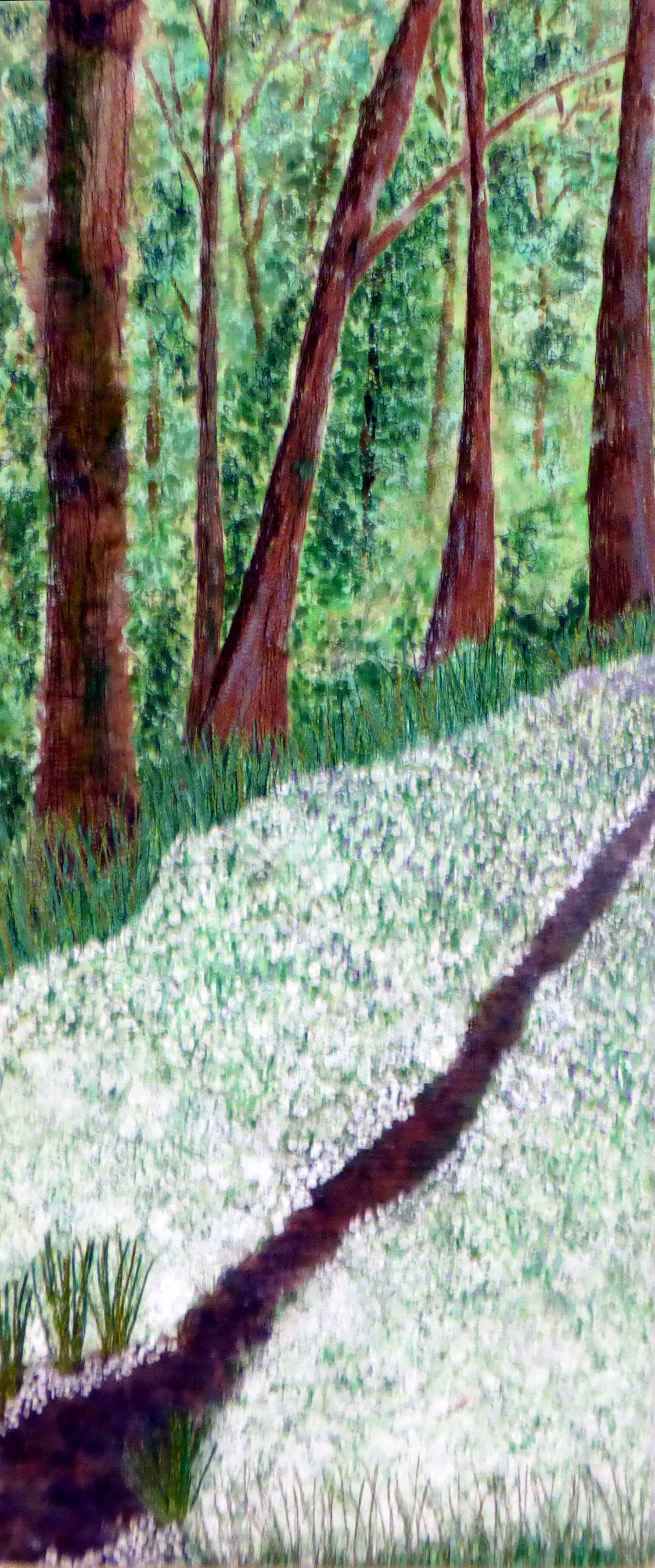 WOODLAND PATH by Liz Leadbetter, fabrics padded, stitched and painted, hand and machine stitched