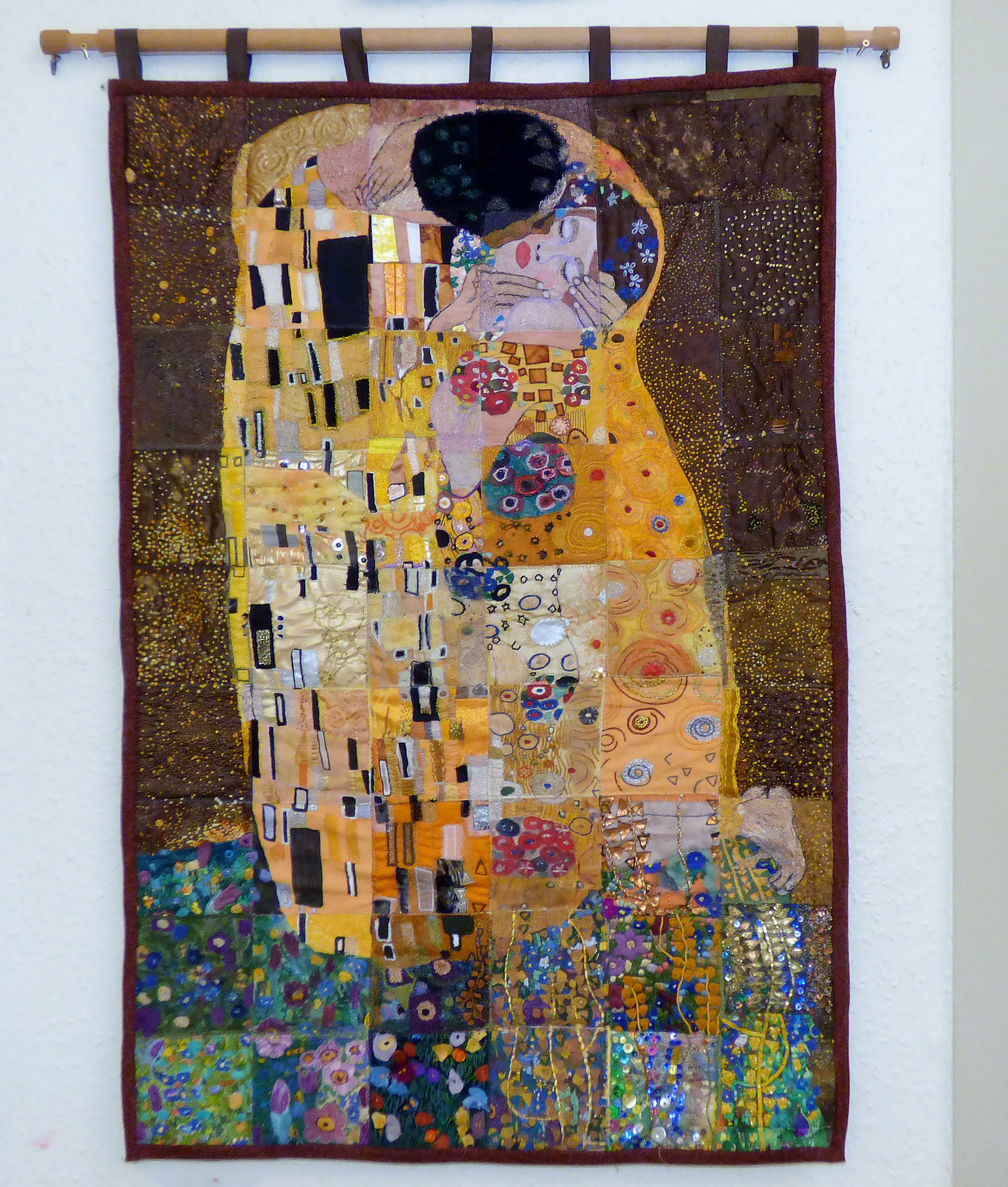 """""""THE EMBRACE"""" BASED ON KLIMPT'S """"THE KISS"""" Wirral EG group work, poster divided up and recreated in stitch"""