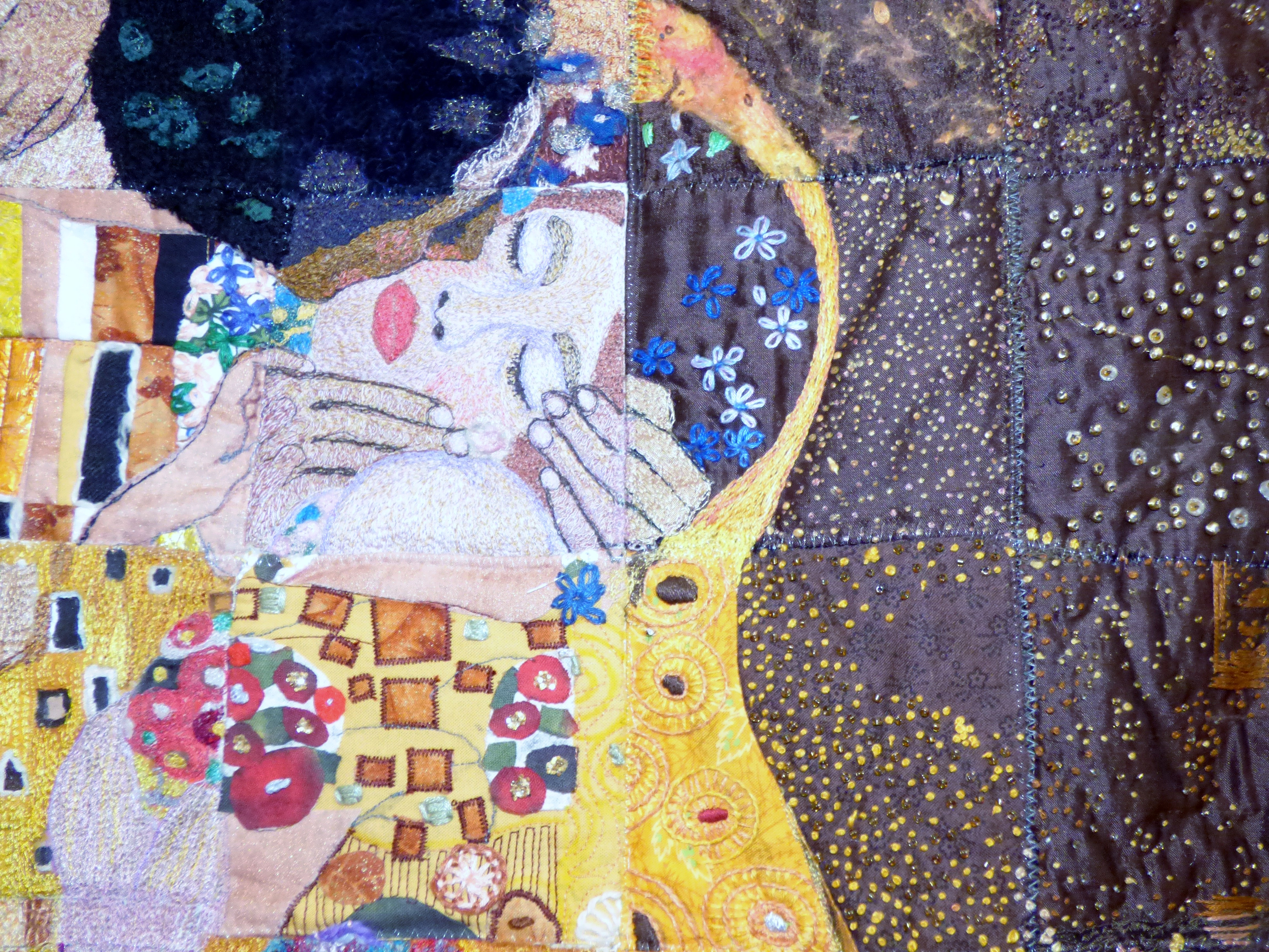 """(detail) """"THE EMBRACE"""" BASED ON KLIMPT'S """"THE KISS"""" Wirral EG group work, poster divided up and recreated in stitch"""