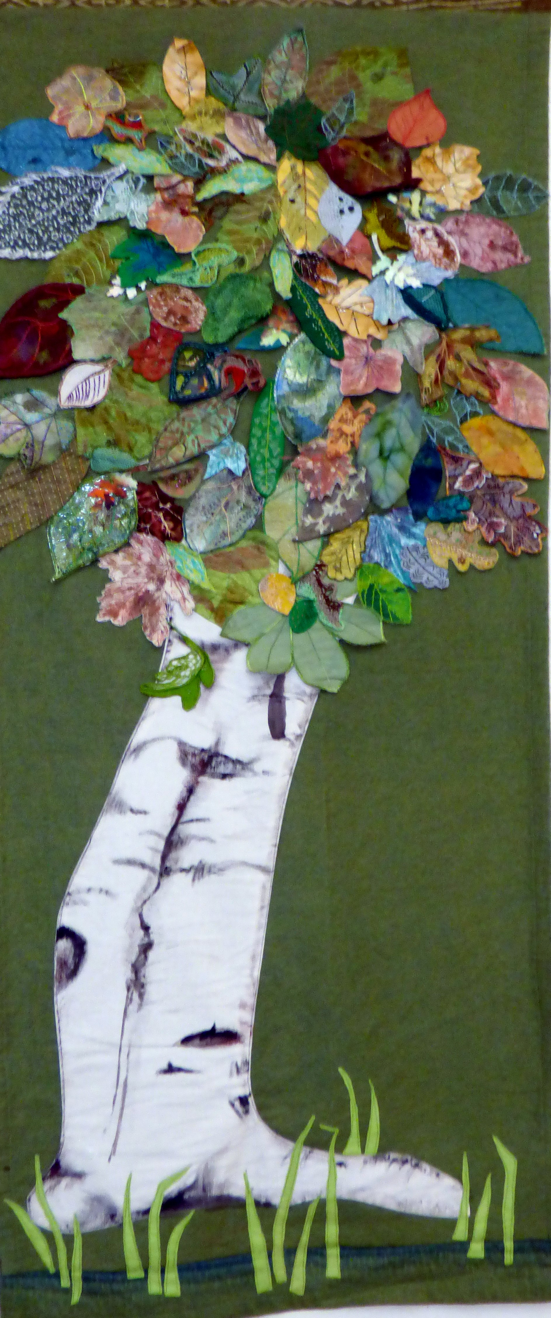 TREES, Wirral EG group work, two hangings of stitched leaves