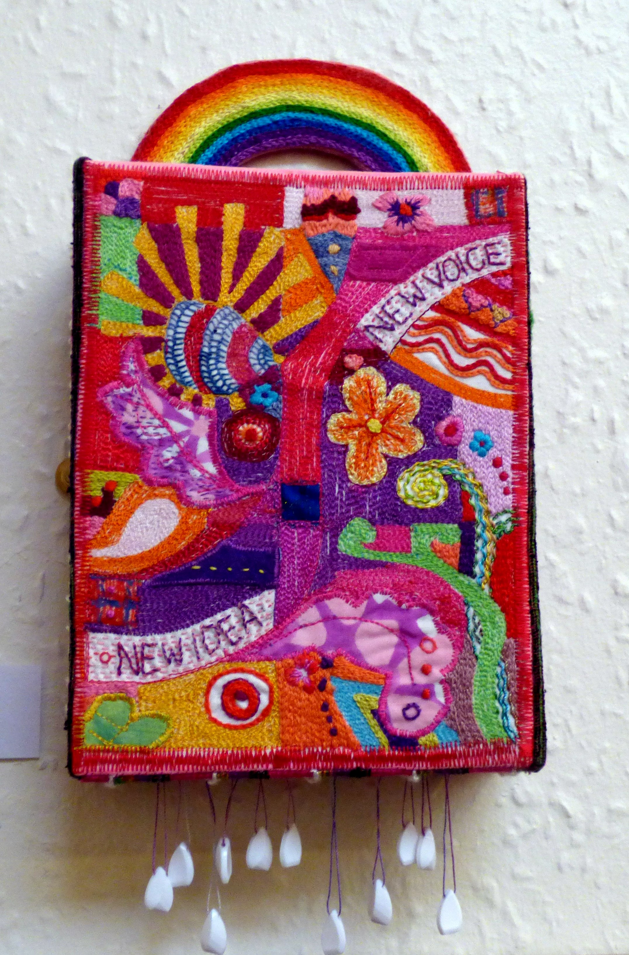 RAINBOW BOX by Sue Boardman, hand and machine embroidery