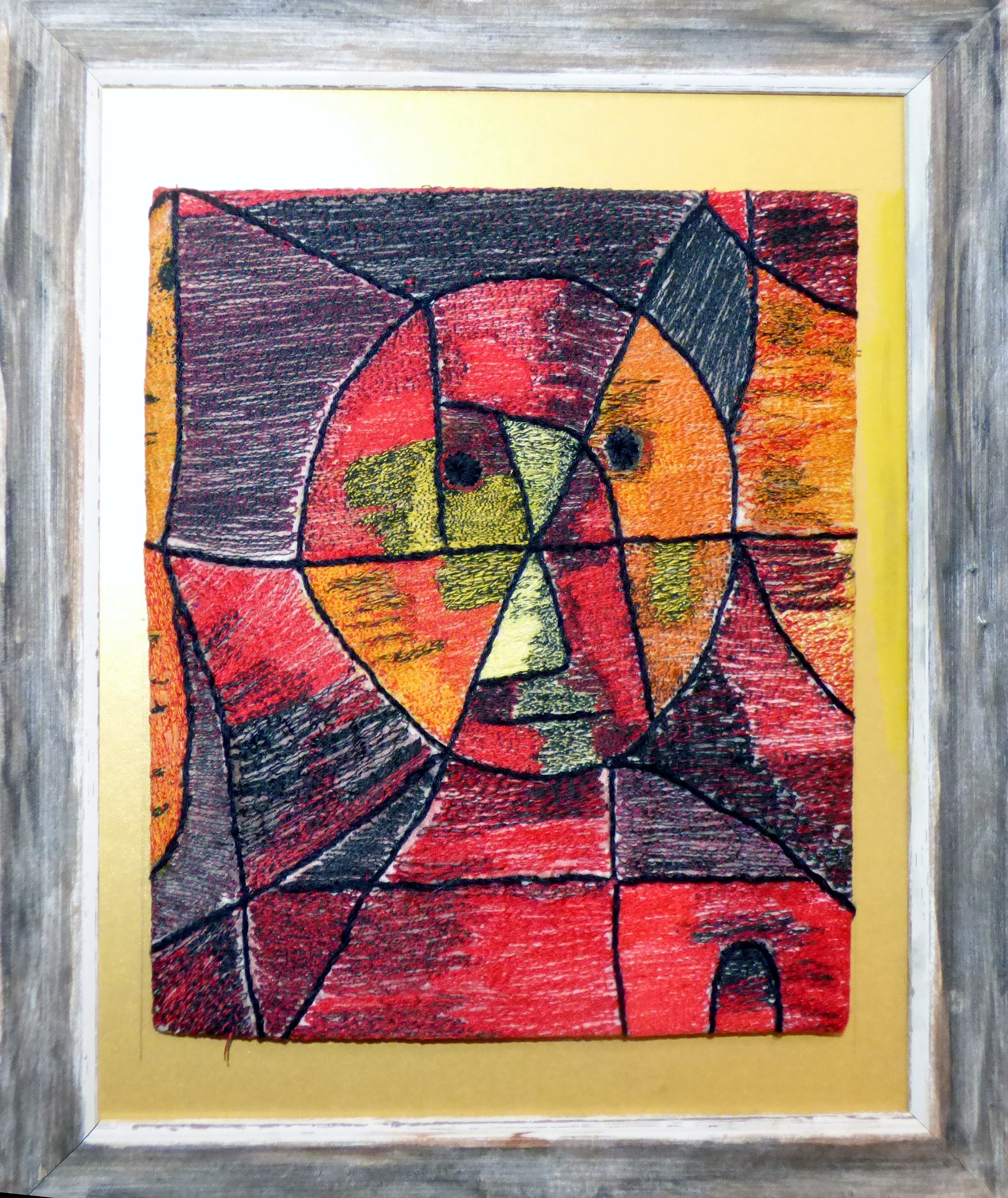 MODERN MAN by Gill Marshall, machine stitch portrait based on Paul Klee