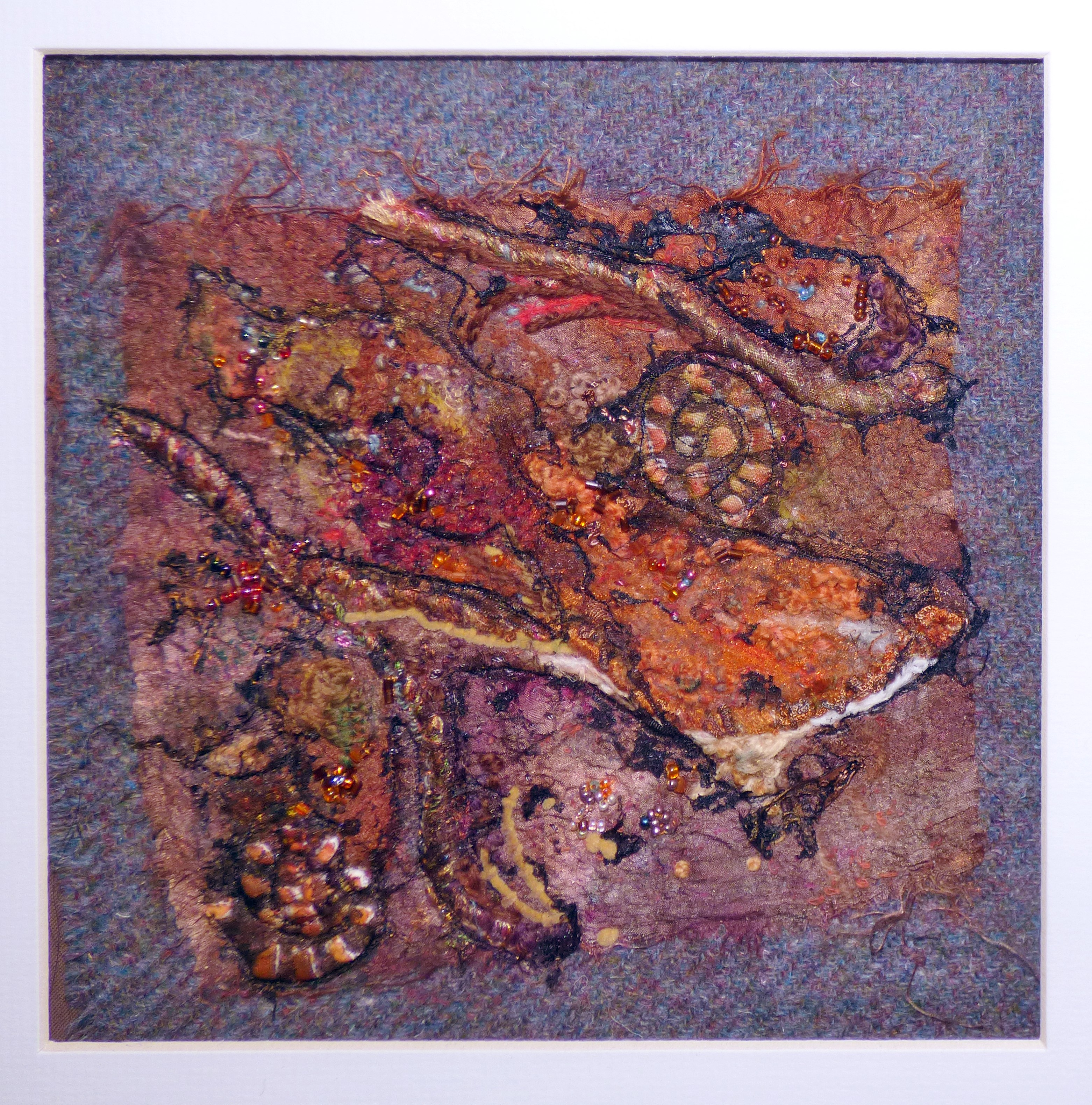 SOIL PATTERNS by Janet Vance, needle felting and hand stitching
