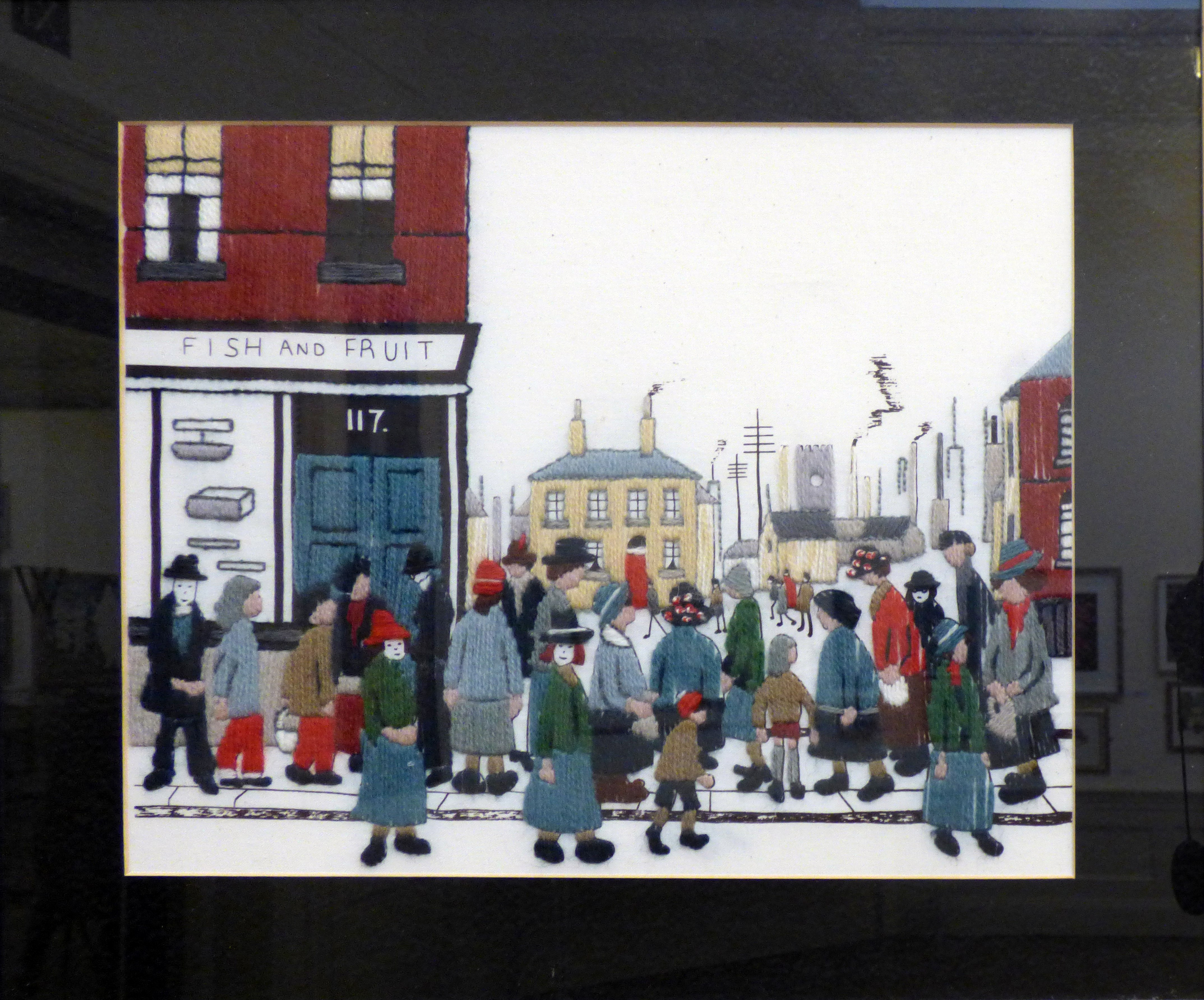 LOWRY-THE SHOP by Jill Renwick, long and short stitch