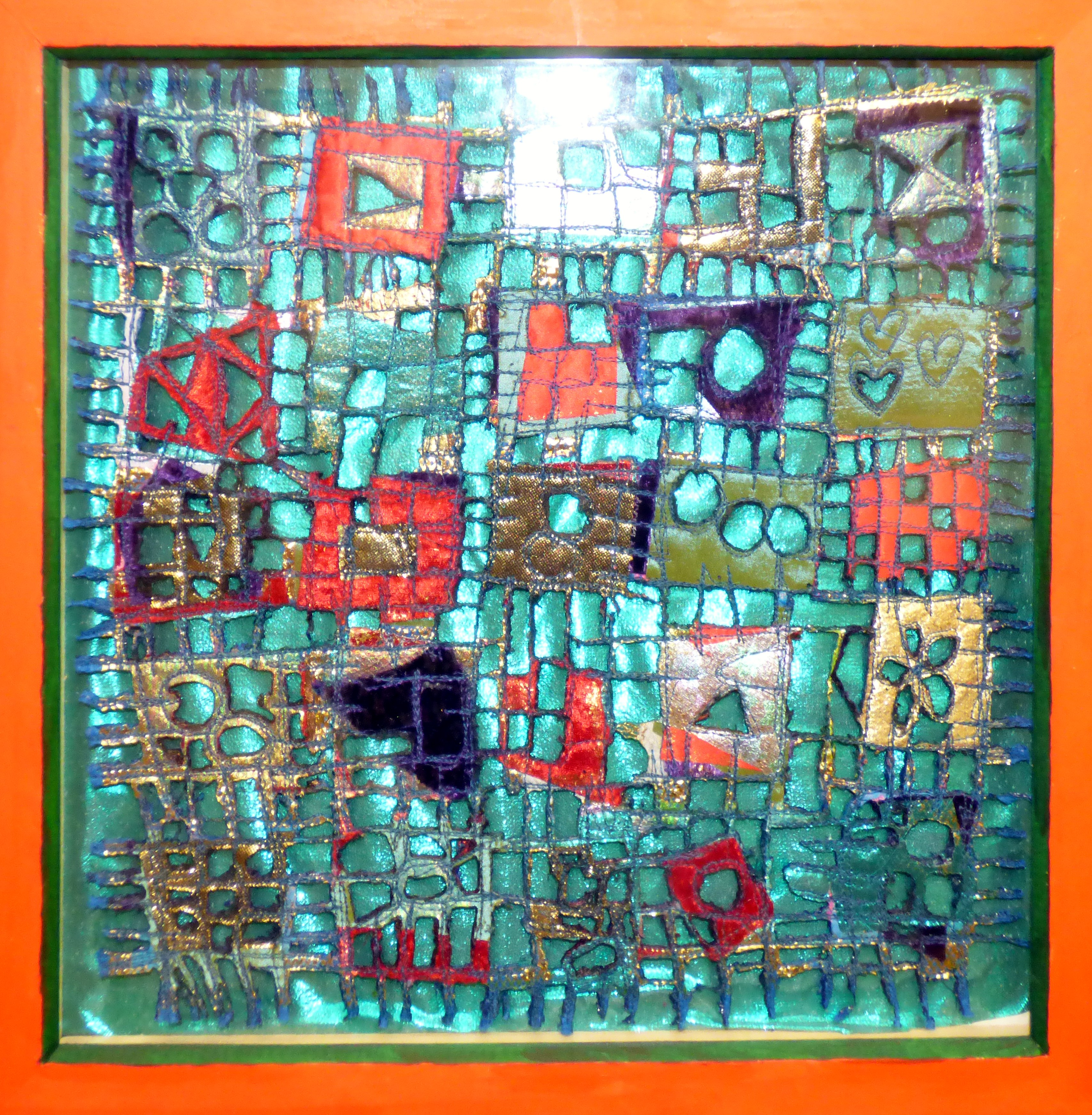 A STUDY IN REDS AND GREENS by Janet Speechley, layering, bonding and burning