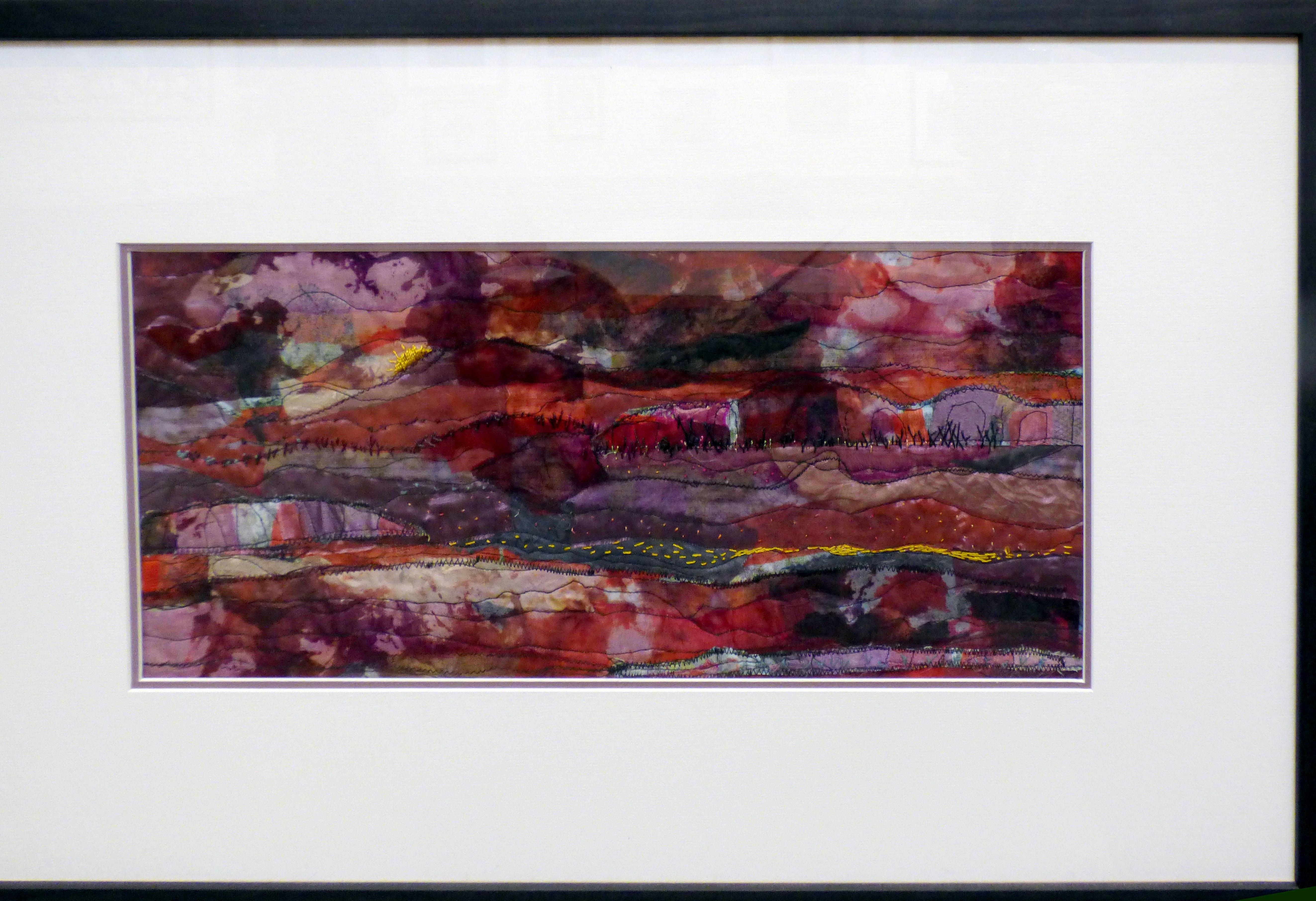SUNSET by Janet Vance, machine stitching on layers of organza