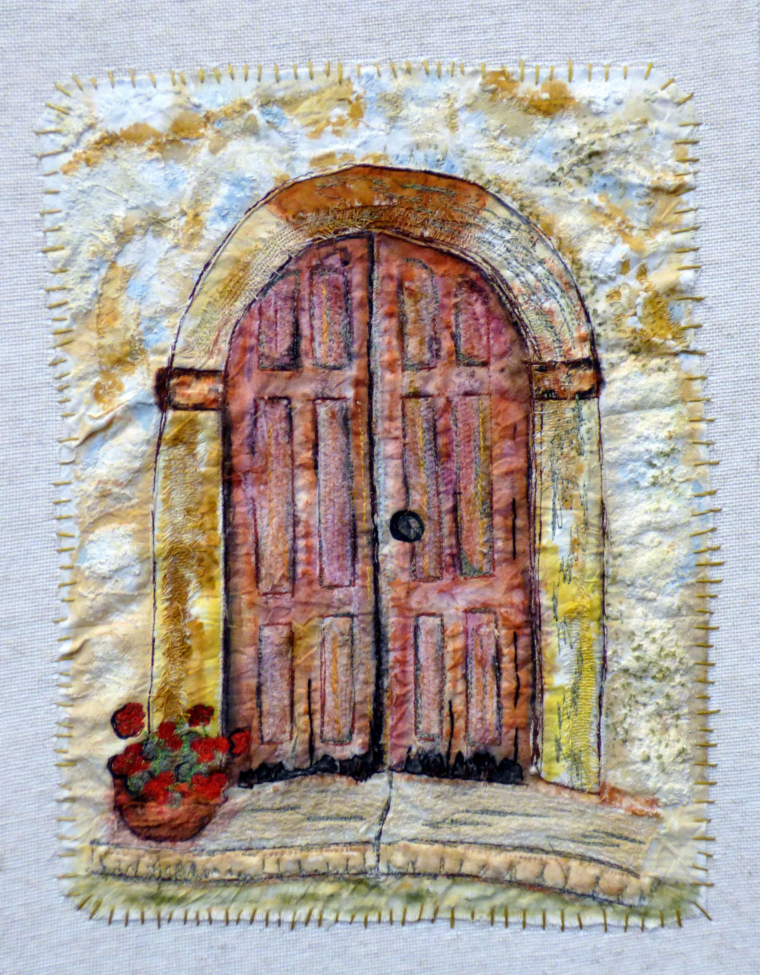 THE FORGOTTEN DOOR by Melanie Jones, machine stitch on mixed media