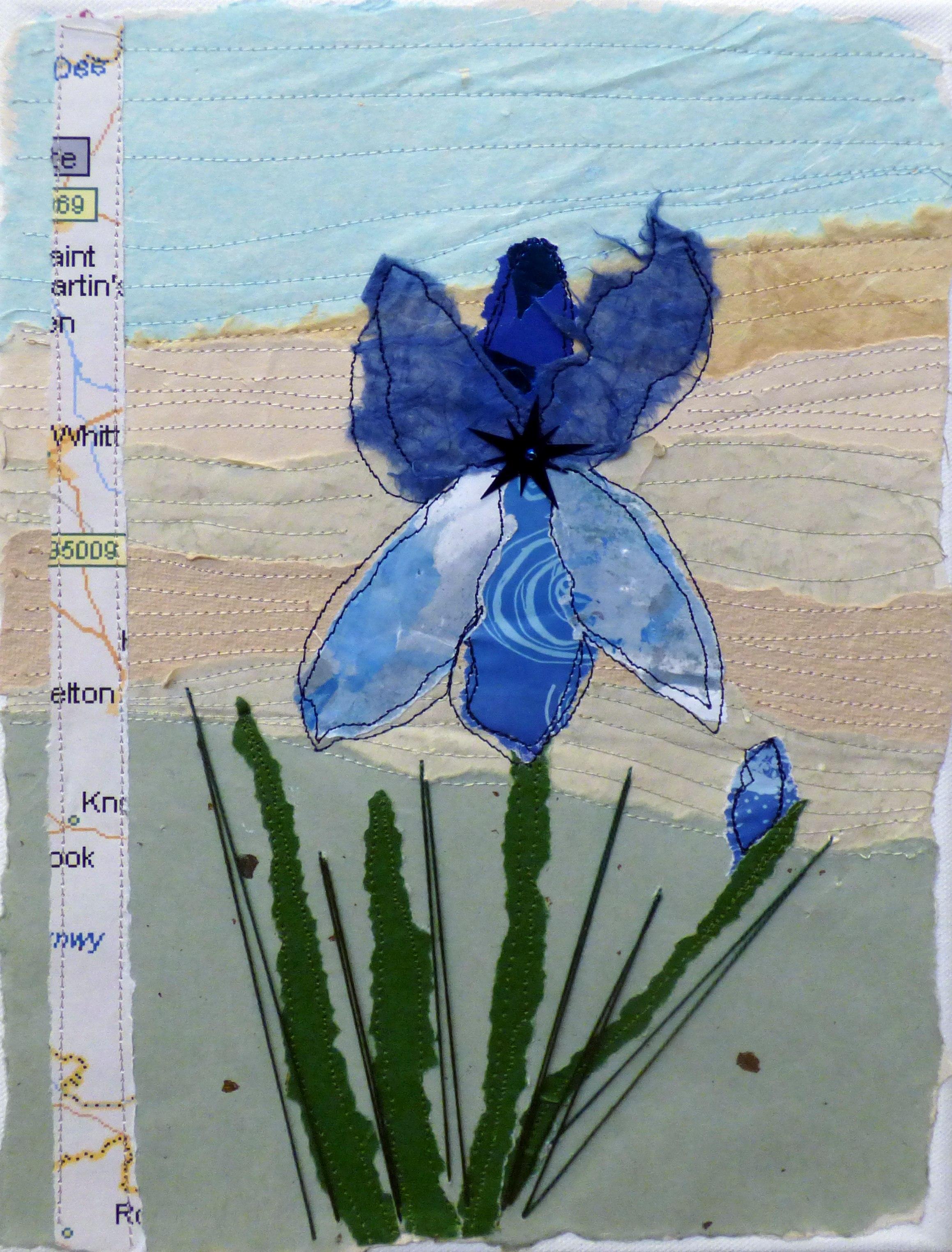 IRIS by Joan Norton, paper collage and machine stitch